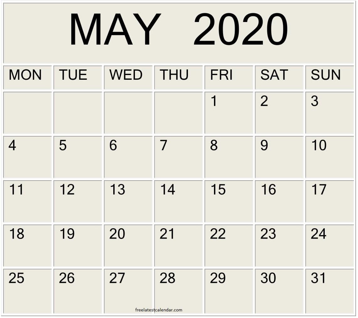 Printable May 2020 Calendar Large Print – Free Latest regarding Printable Calendar Date Range