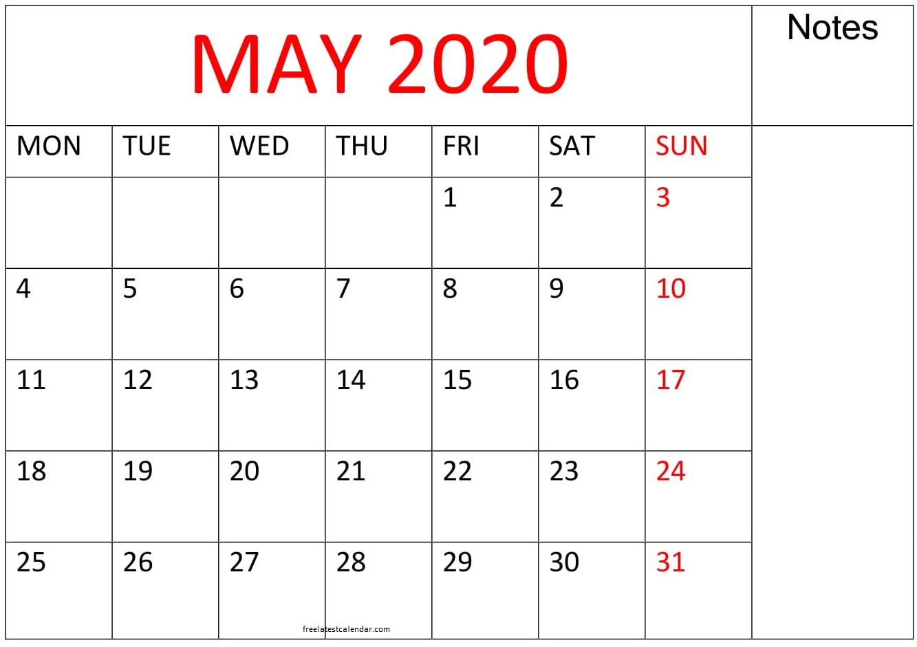 Printable May 2020 Calendar Large Print – Free Latest with regard to Printable Calendar Date Range