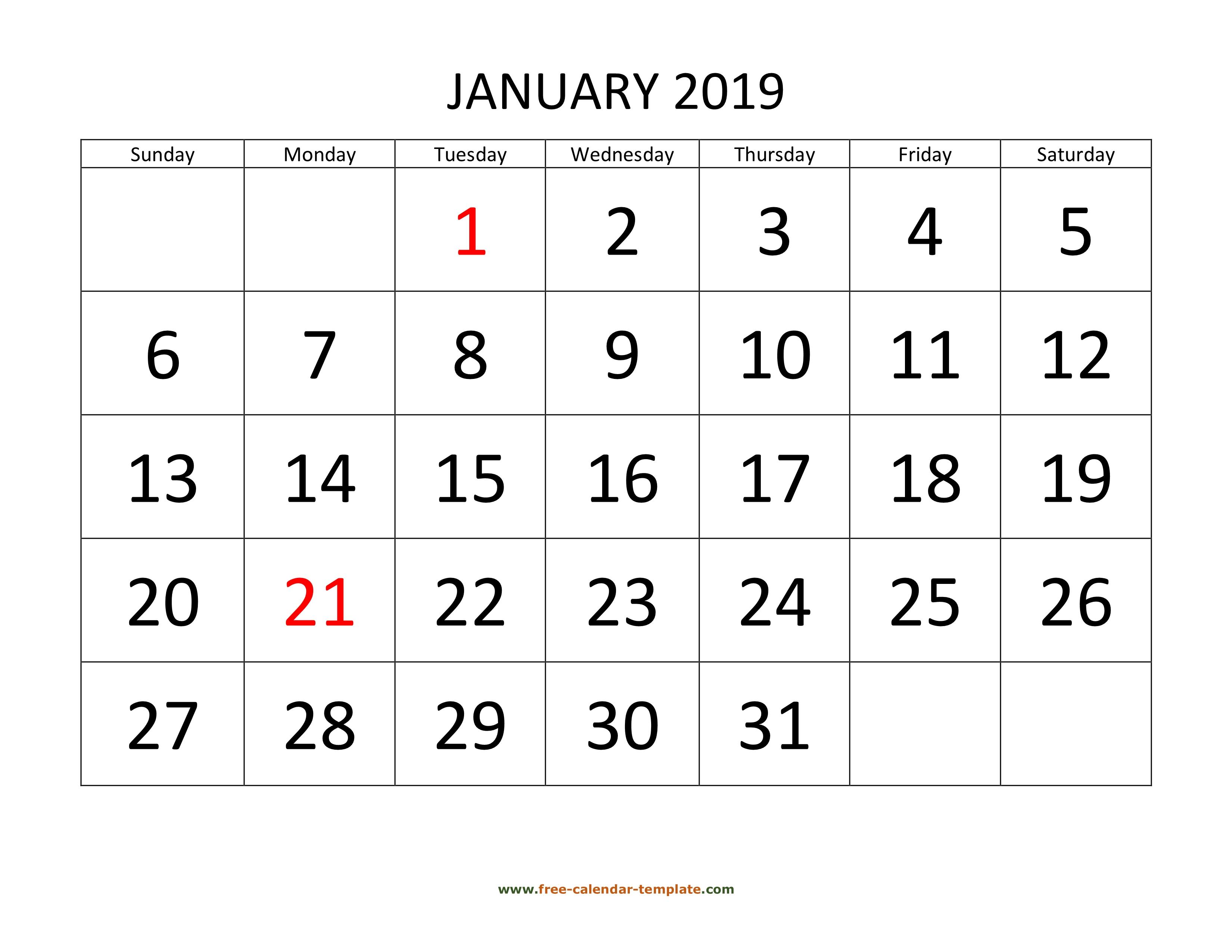 Printable Monthly Calendar 2019 | Freecalendartemplate regarding Printable Calendar 2020 3 Months Per Page