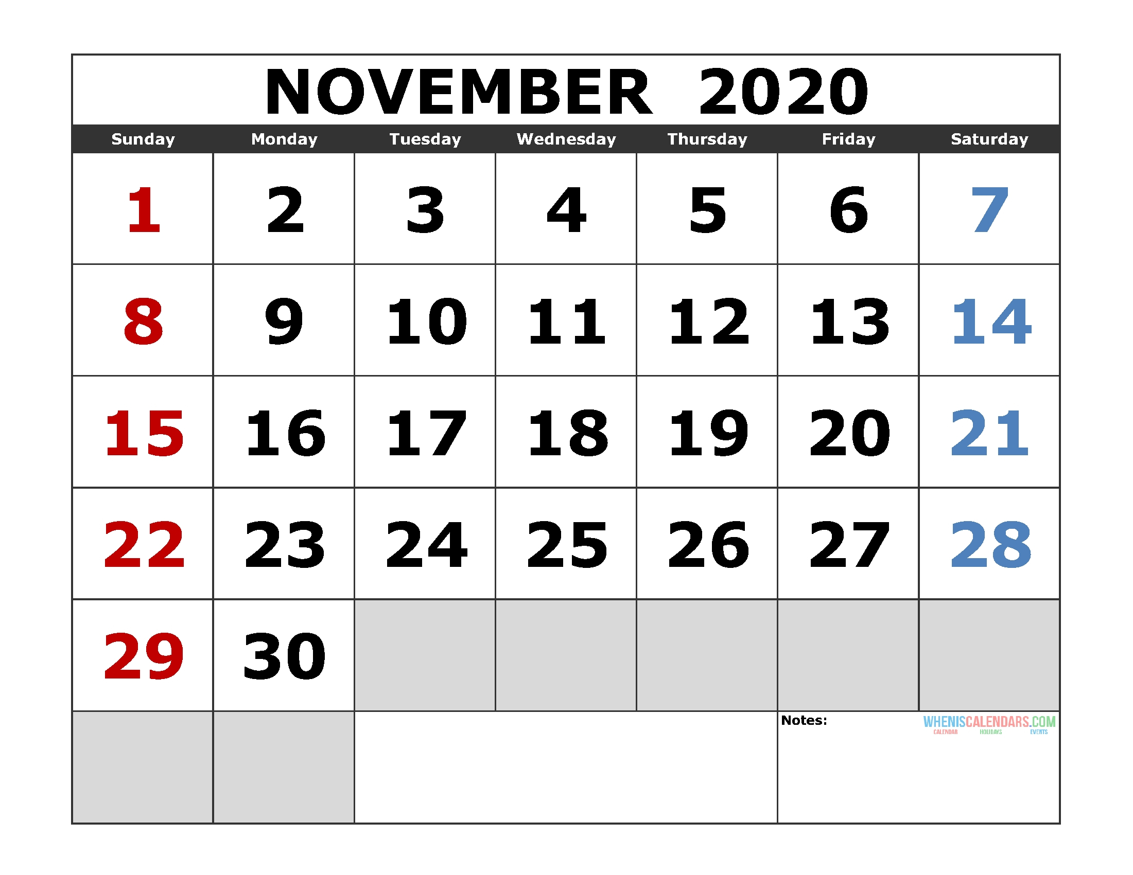 Printable Monthly Calendar November 2020 Excel | Monthly within November 2020 Calendar Excel