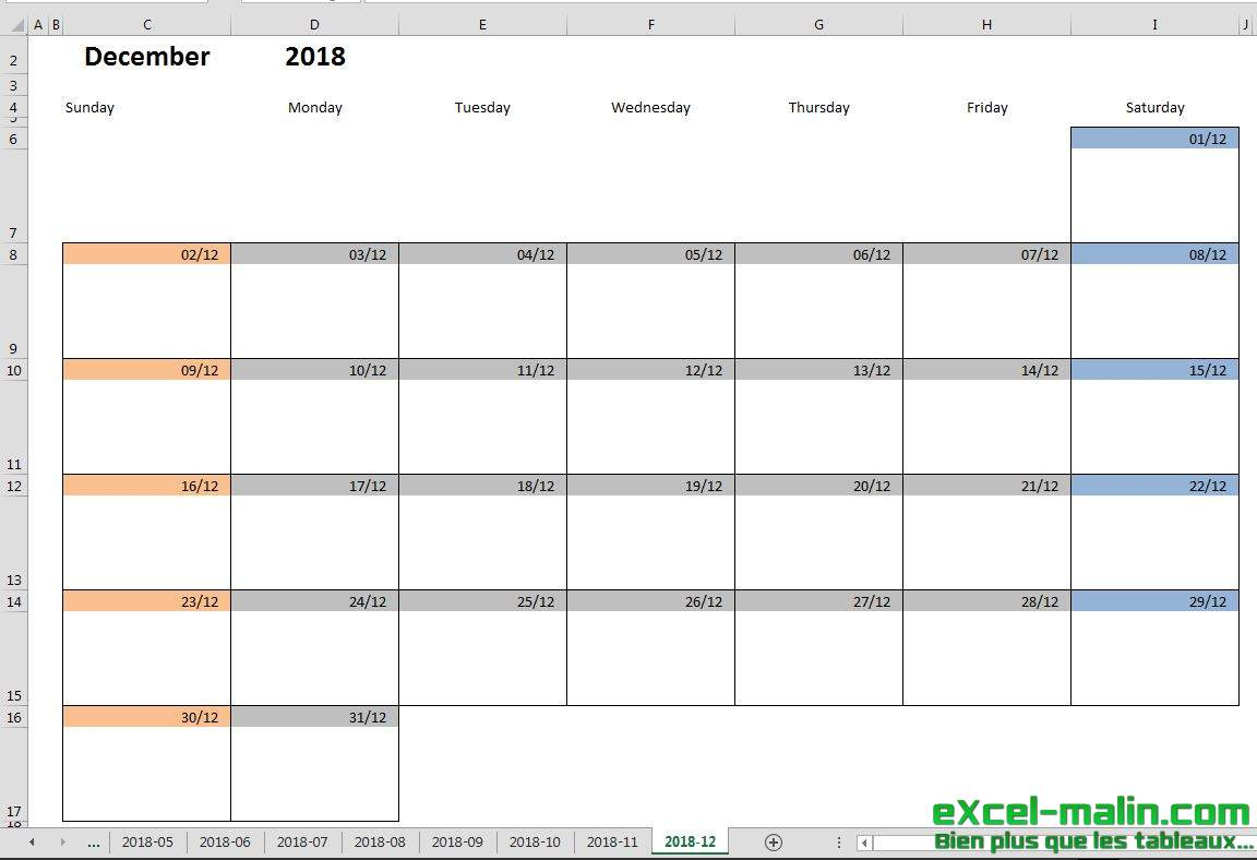 Printable Monthly Calendar Template For Excel | Excelmalin within Monthly Calendar In Excel
