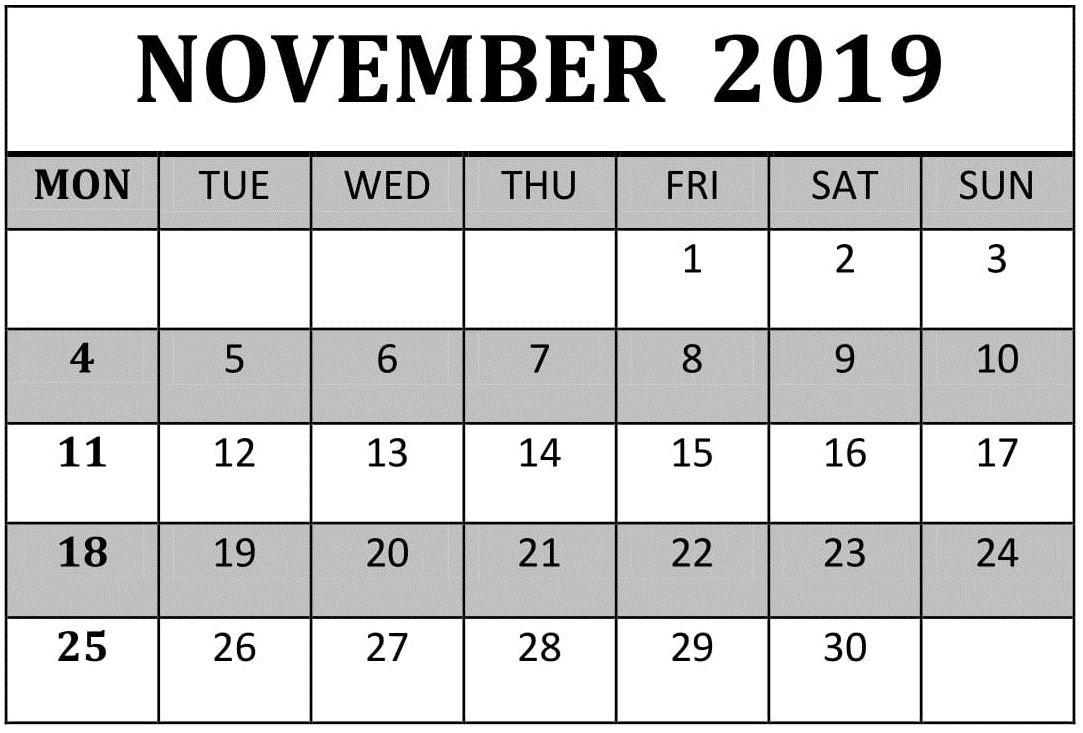 Printable November 2019 Calendar Blank Template – Free with Insanity Calendar Pdf
