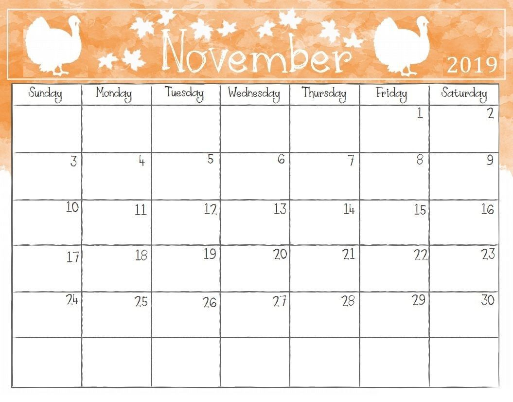 Printable November 2019 Calendar Clipart inside November Calendar Clipart Free