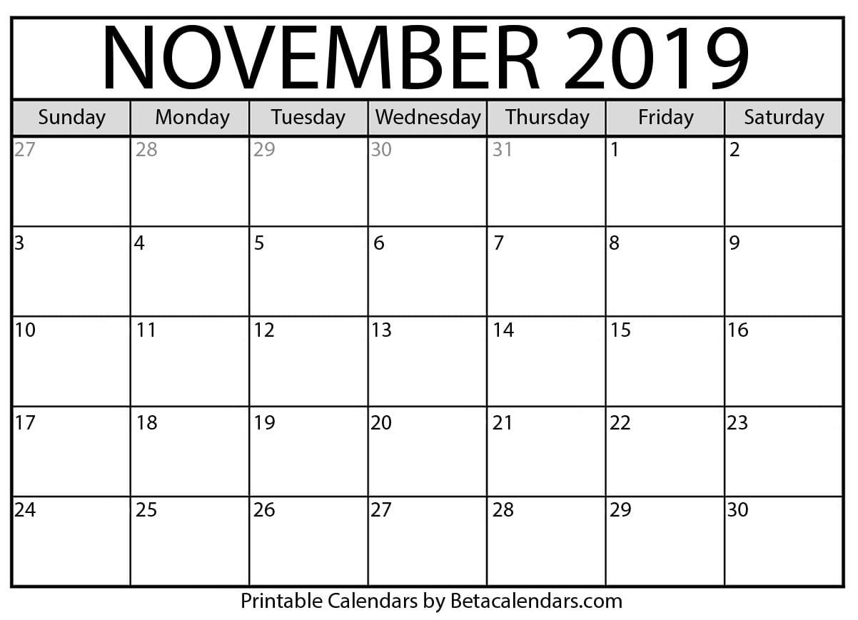 Printable November 2020 Calendar  Beta Calendars inside November 2020 Calendar Beta Calendars