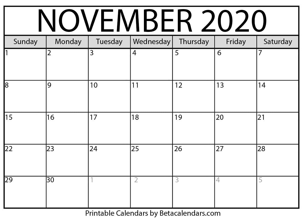 Printable November 2020 Calendar  Beta Calendars throughout November 2020 Calendar Beta Calendars