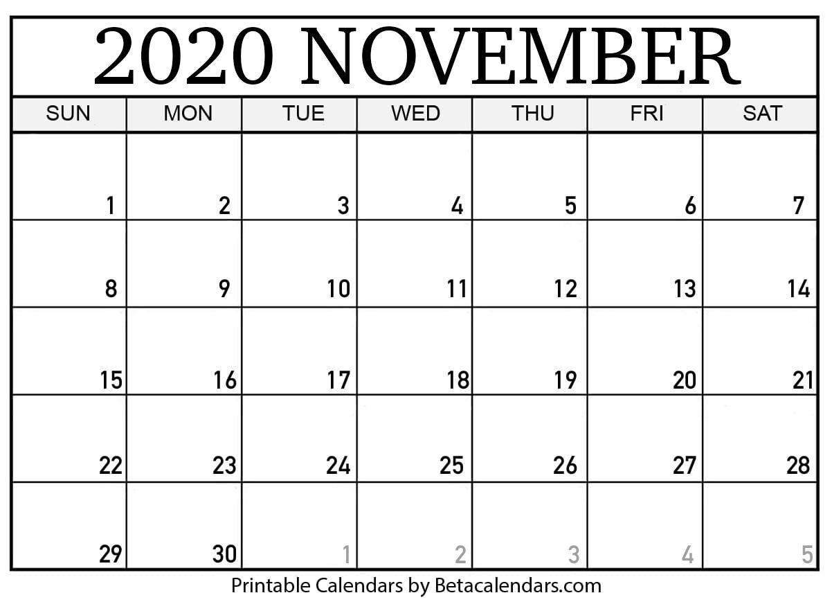 Printable November 2020 Calendar  Beta Calendars with regard to November 2020 Calendar Beta Calendars
