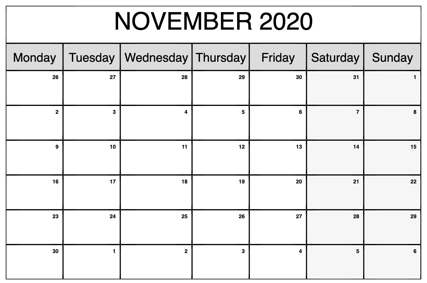 Printable November 2020 Calendar | Calendar Printables regarding November Calendar Excel 2020