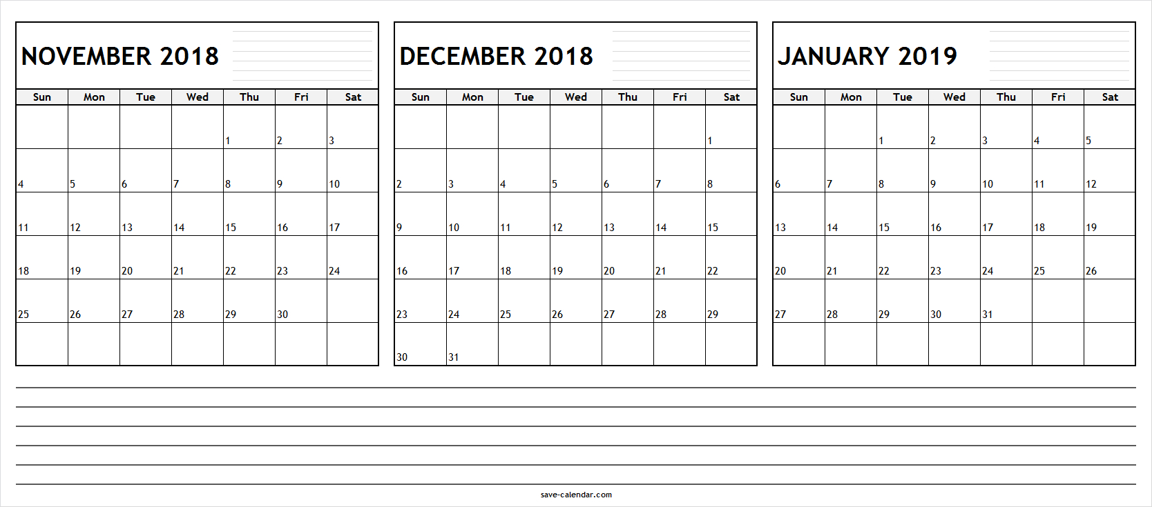 Printable November December 2018 January Calendar 2019 With in November December January Calendar