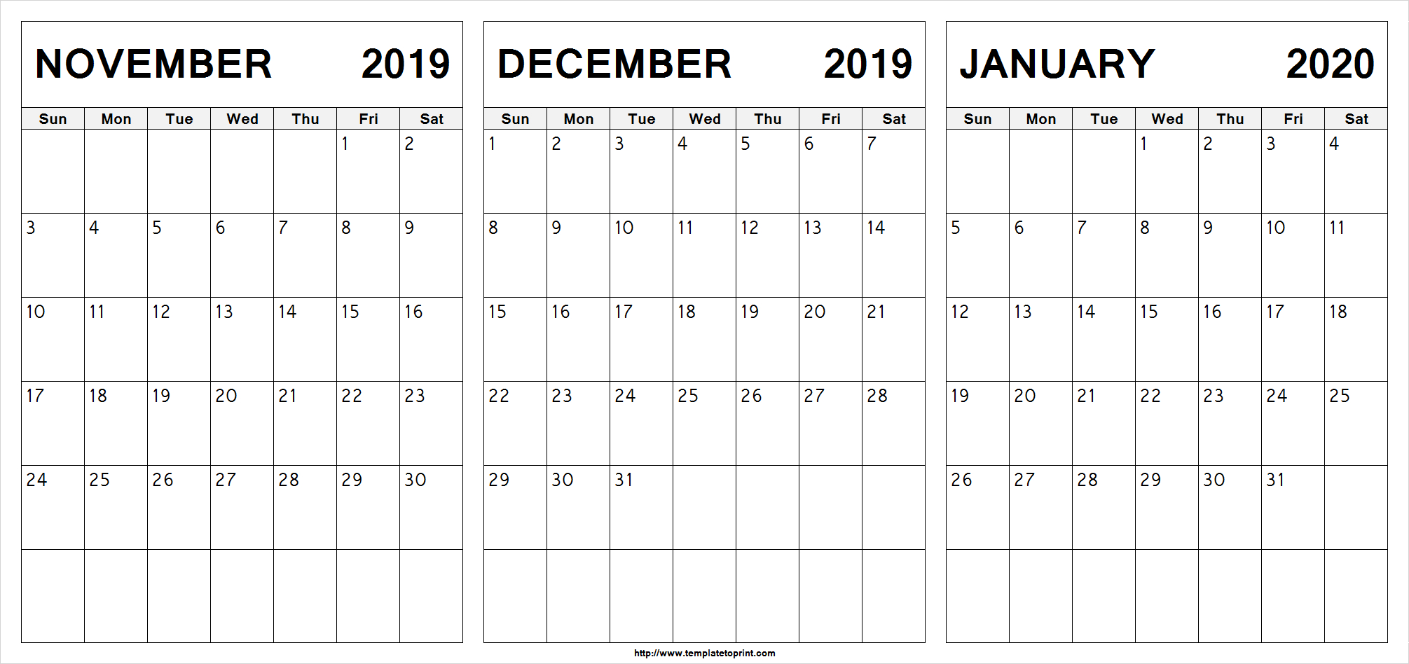 Printable November December 2019 January 2020 Calendar Design with regard to November December January Calendar