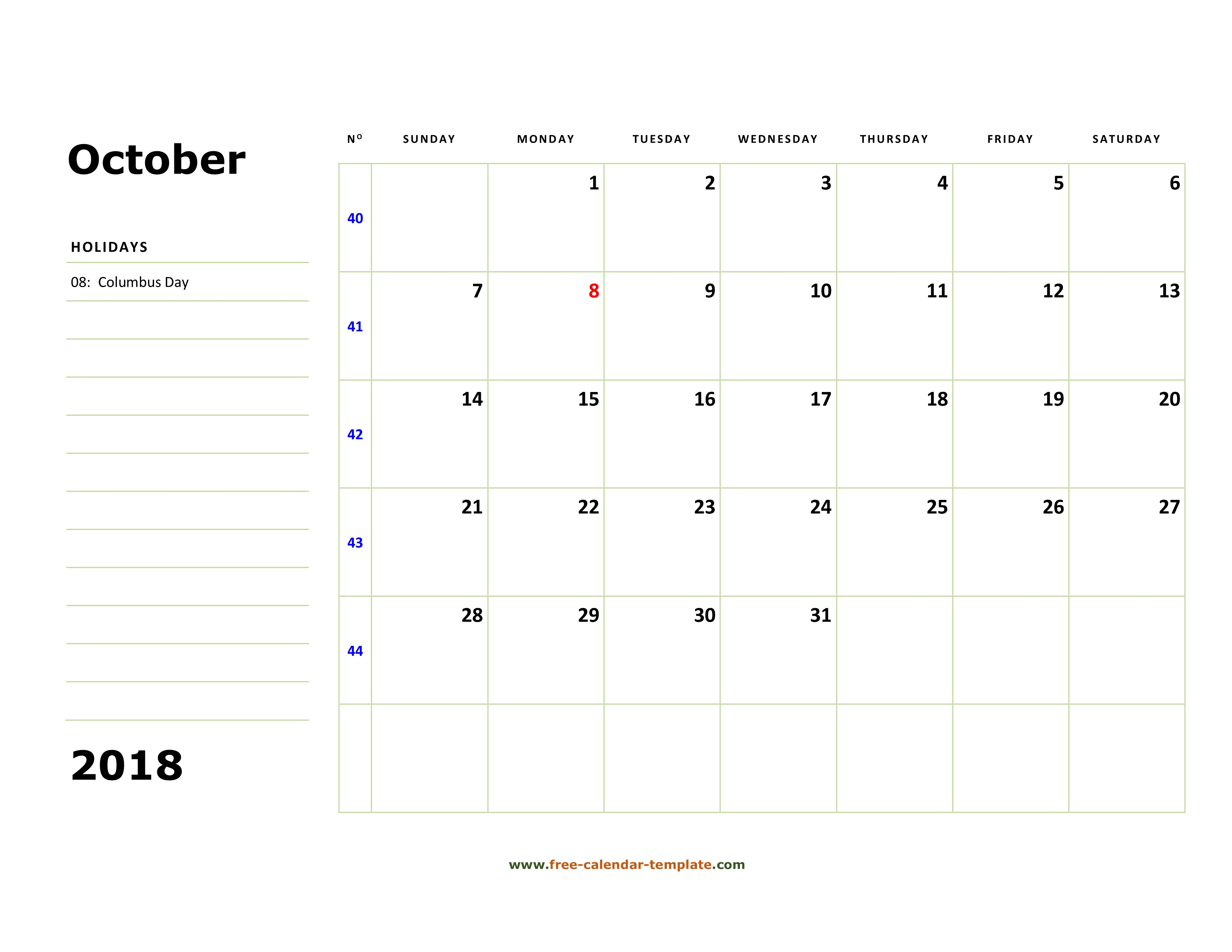 Printable October 2018 Calendar (Box And Lines For Notes with regard to Calendar Template With Lines