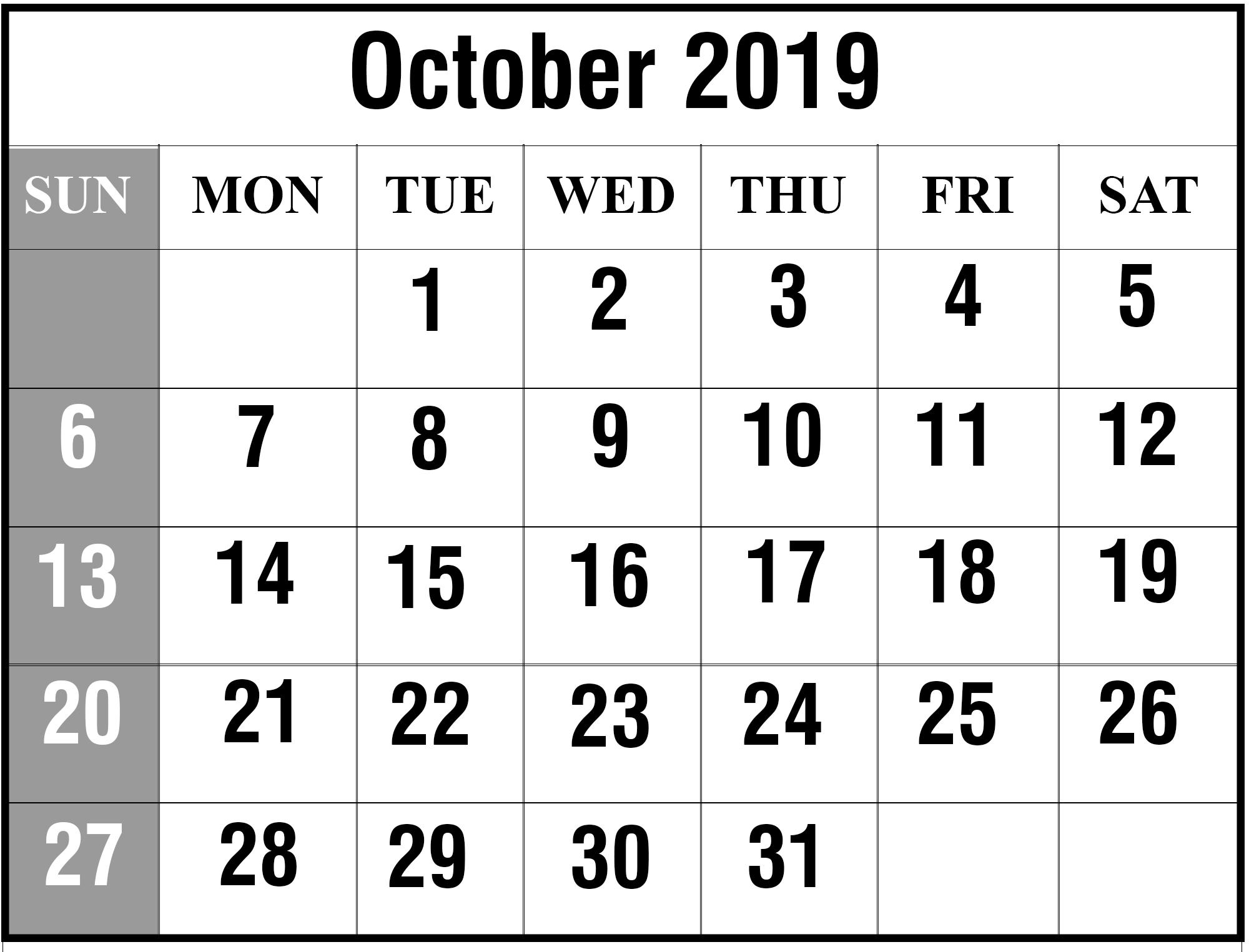 Printable October 2019 Calendar  Ram Singh  Medium with regard to Max 30 Calendar Pdf