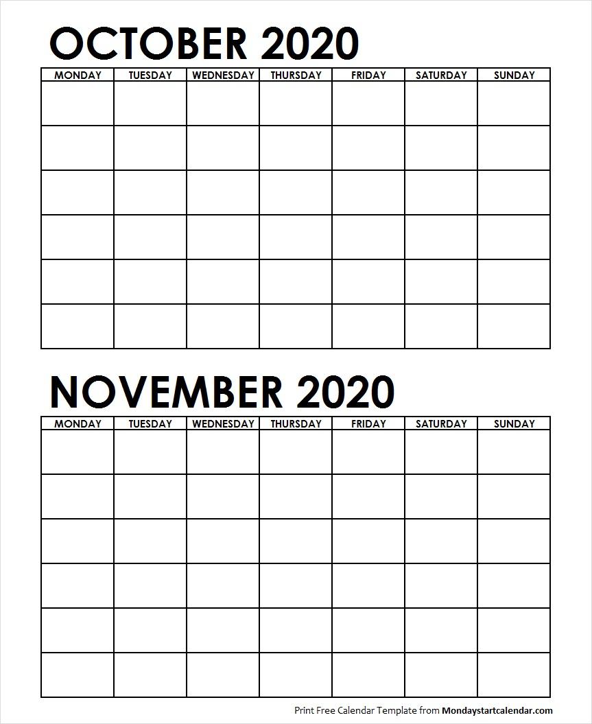Printable October November 2020 Calendar Template Blank for October & November 2020 Calendar