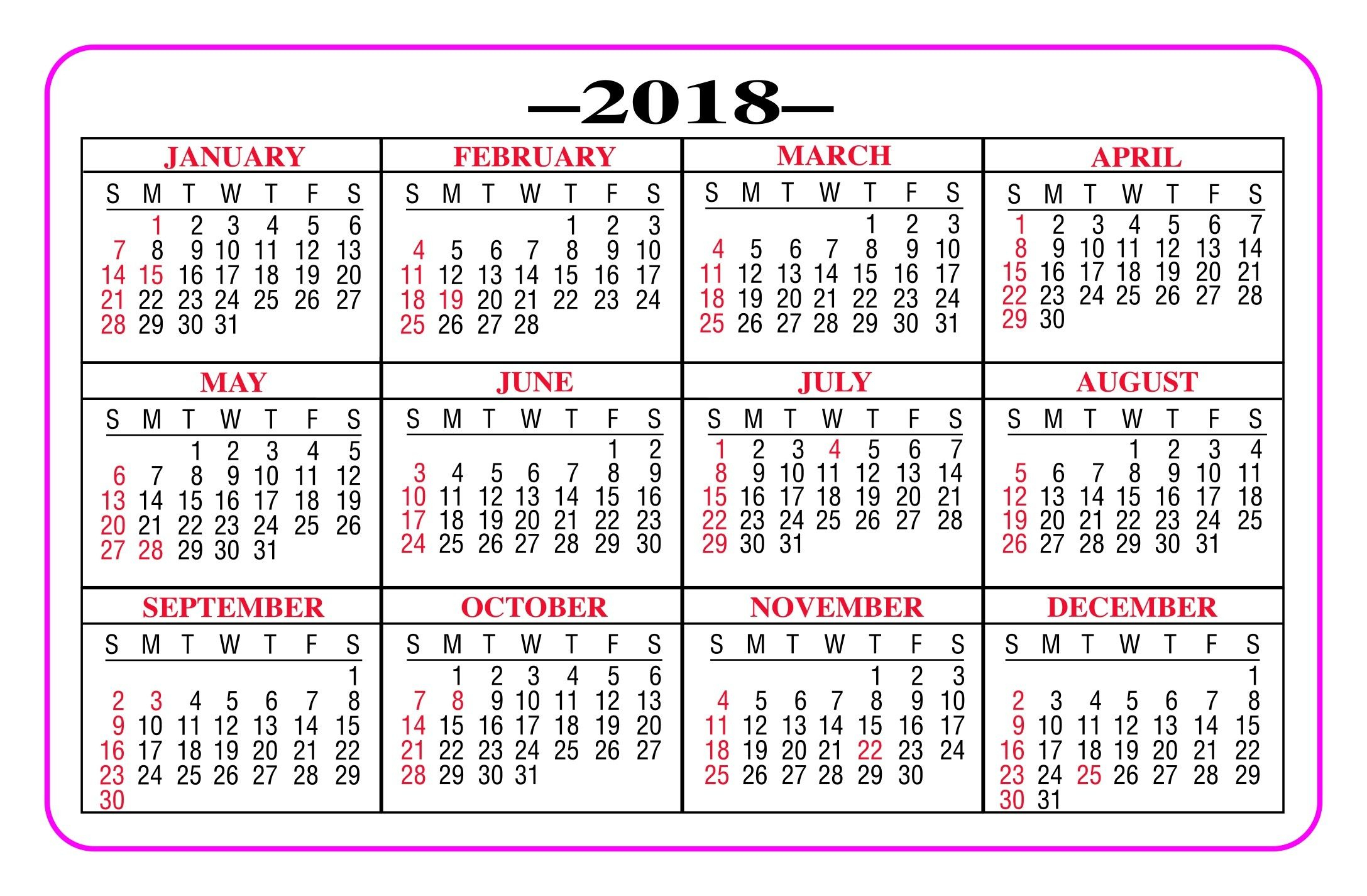 Printable Pocket Calendar 2018  Yeniscale.co Full Year throughout Printable Pocket Calendar