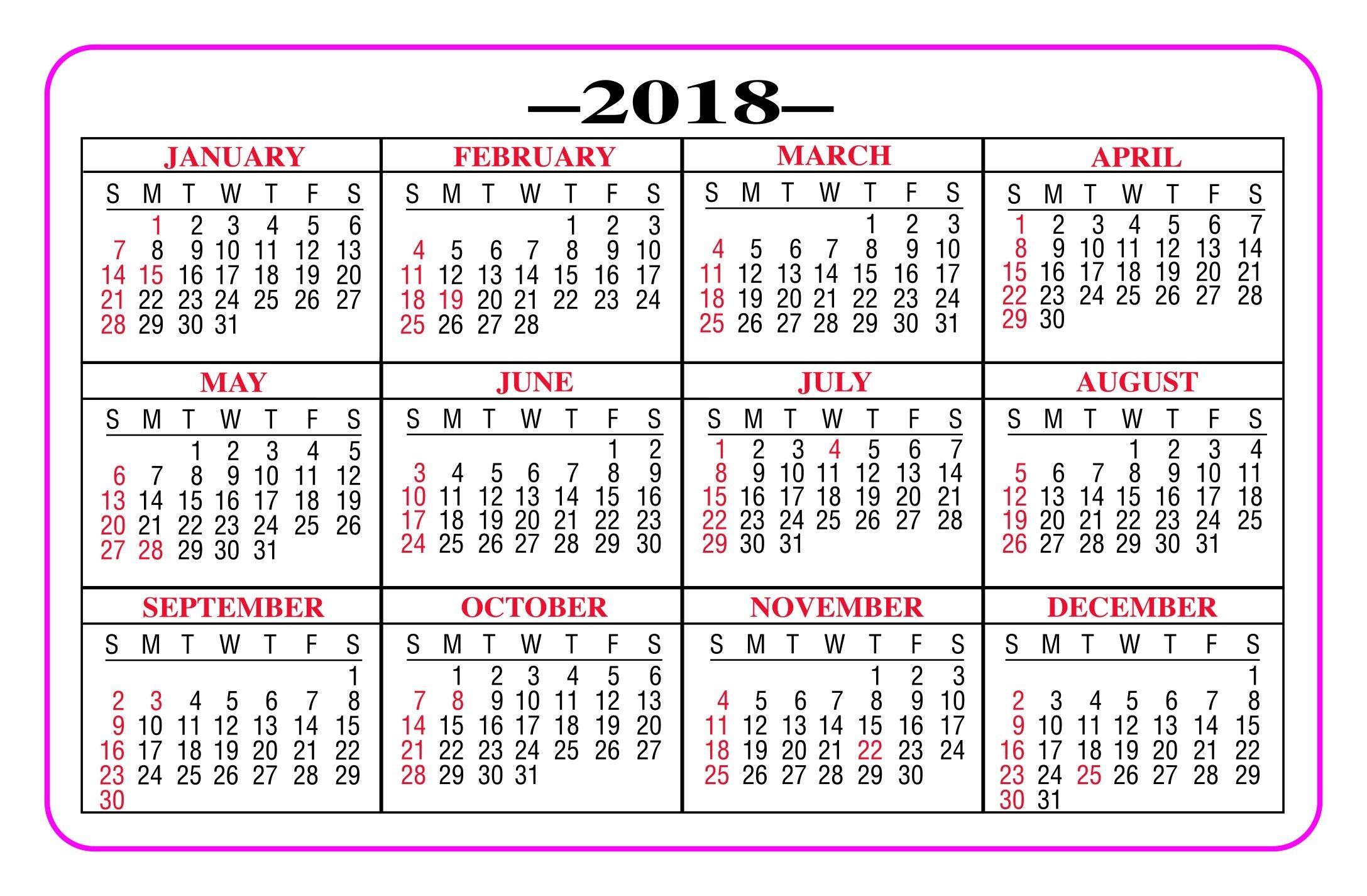 Printable Pocket Calendar 2018  Yeniscale.co Full Year with regard to Free Printable Pocket Calendar