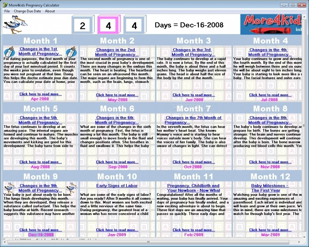 Printable Pregnancy Calendar – Bgadv – Example Calendar inside Printable Pregnancy Calendar Week By Week