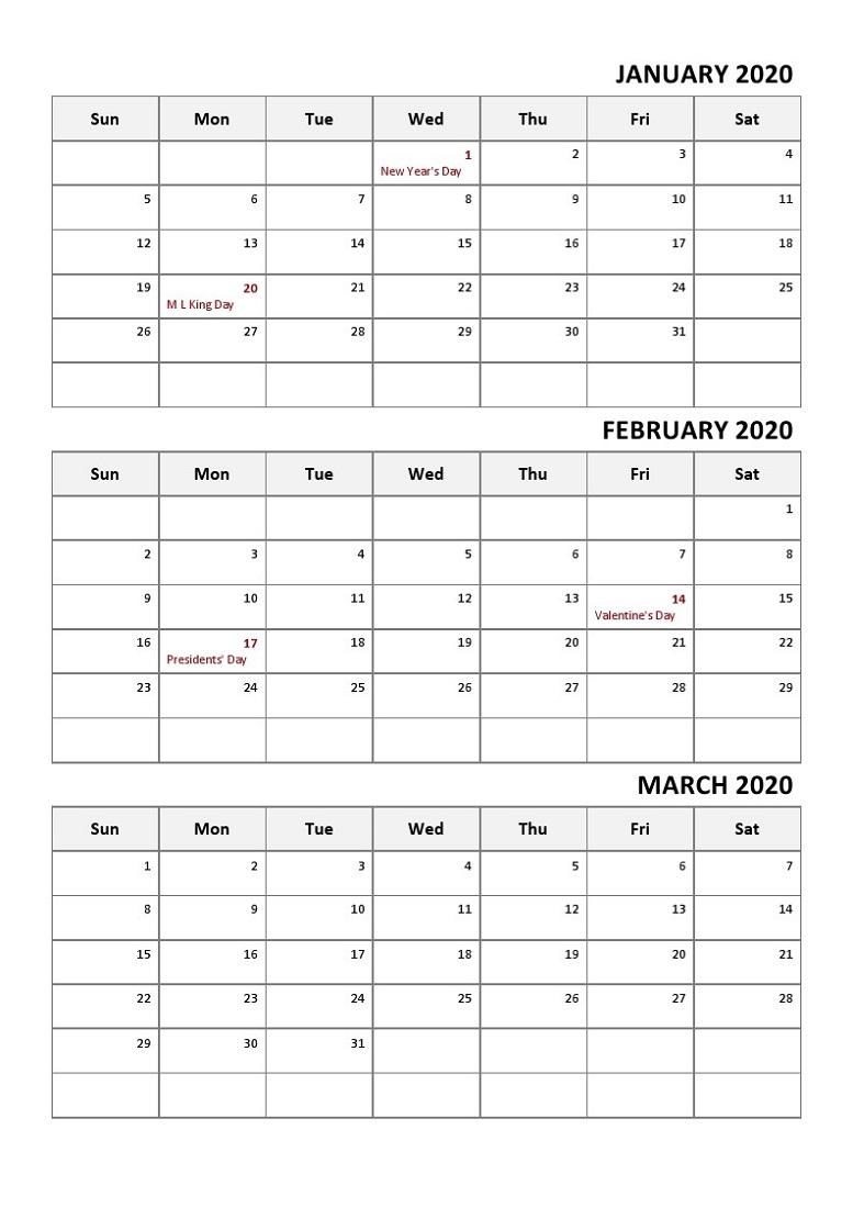 Printable Quarterly Calendar 2020 1St Quarter With Notes with regard to Quarterly Calendar Template