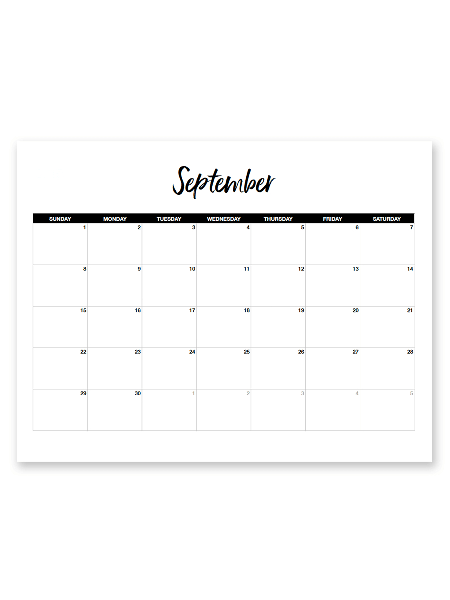 Printable September 2019 Calendar (Minimal within Saturday To Friday Calendar