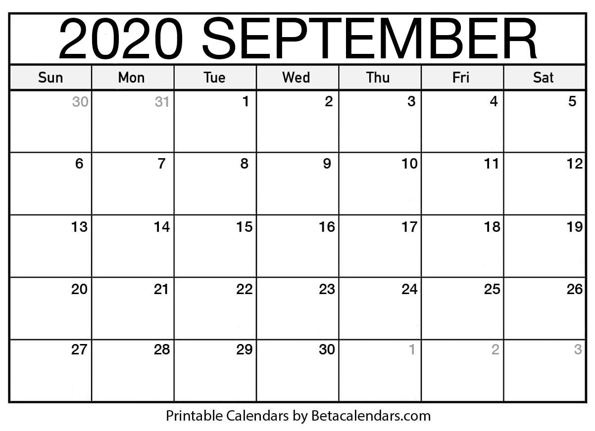 Printable September 2020 Calendar  Beta Calendars for September Thru December 2020 Calendar