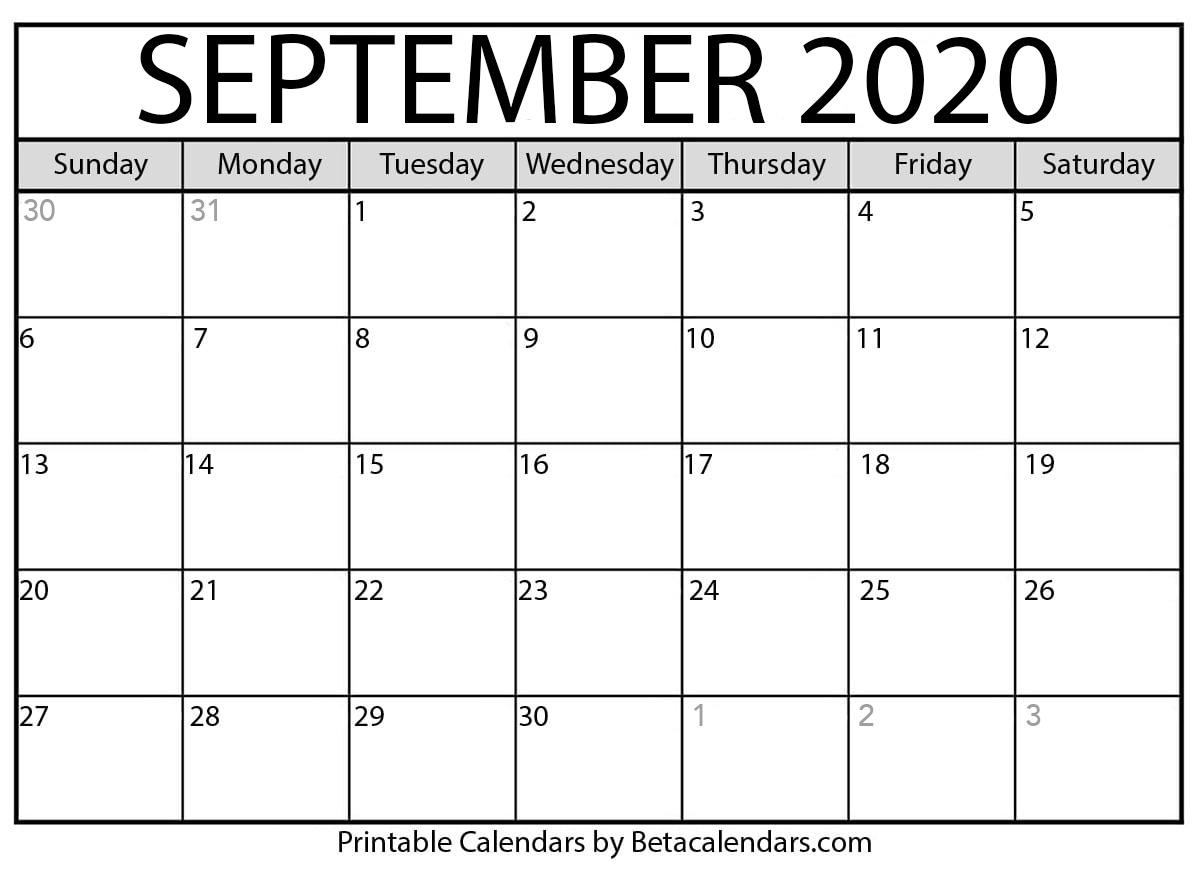 Printable September 2020 Calendar  Beta Calendars in Calender August And September 2020