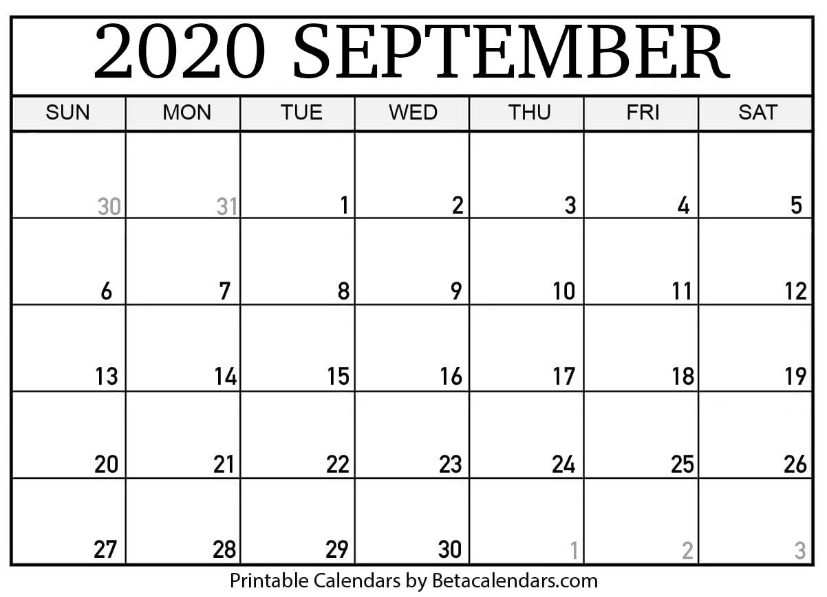 Printable September 2020 Calendar  Beta Calendars in September Thru December 2020 Calendar