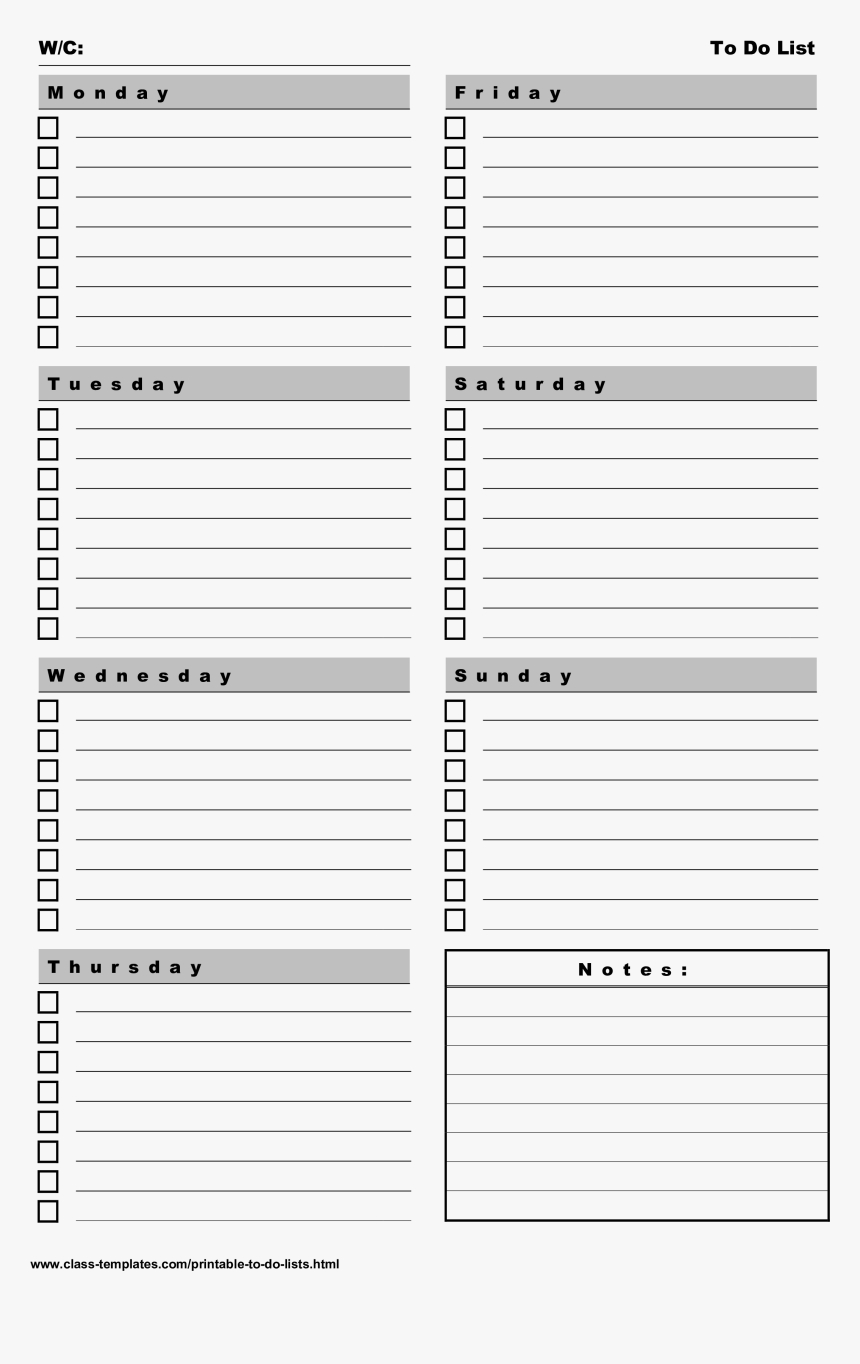 Printable Todo List 7 Days A Week Portrait Main Image with 7 Days A Week Planner
