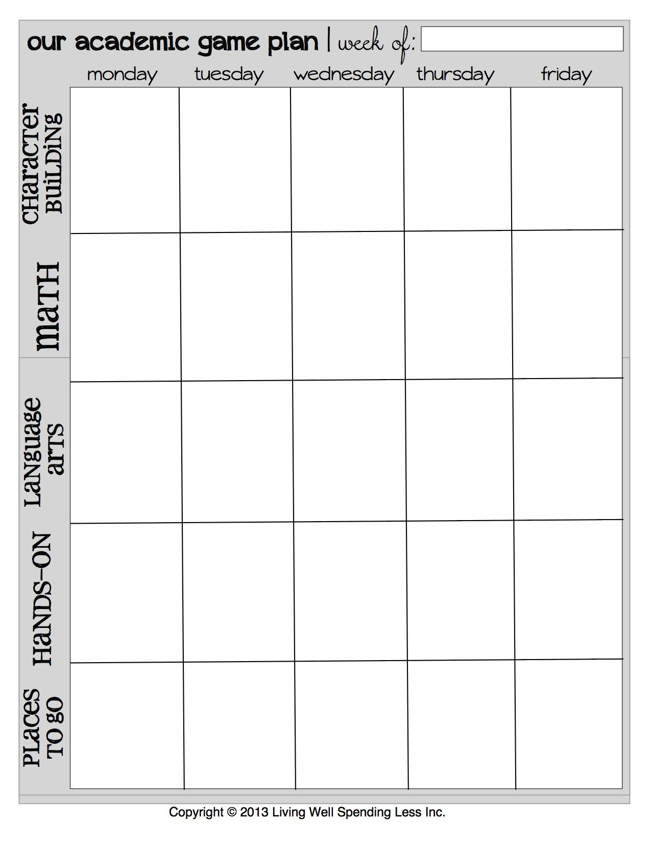 Printable Week Calendar | Free Printable Homeschool Planner within Printable Week Calendar