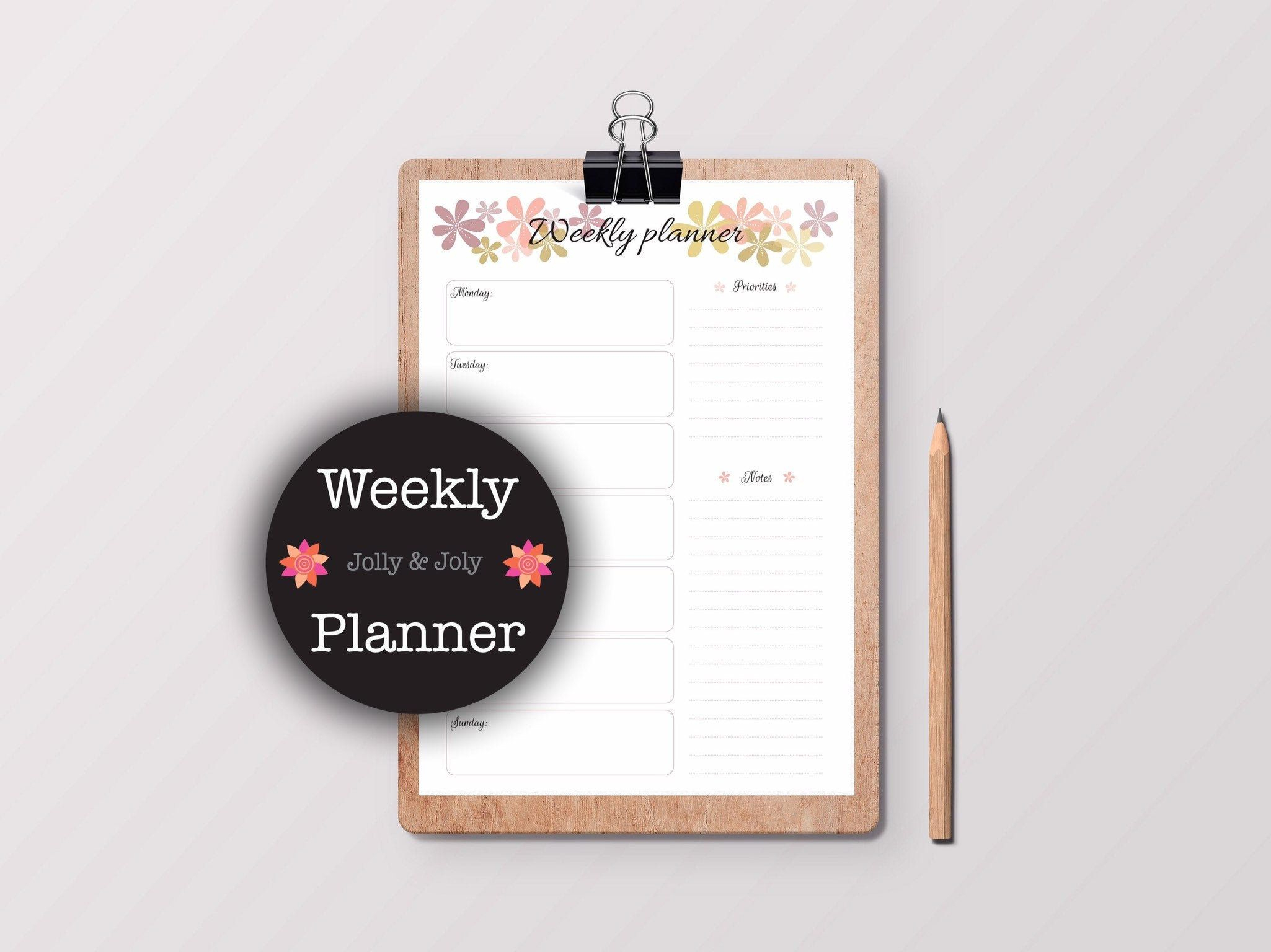 Printable Weekly Floral Planner 7 Days A Week Schedule regarding 7 Days A Week Planner