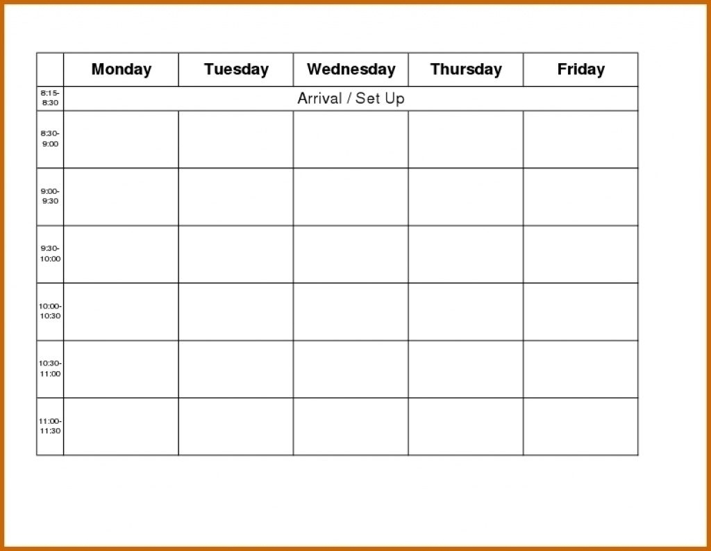 Printable Weekly R Monday Through Friday Template Blank Free with regard to Monday Through Friday Calendar Template