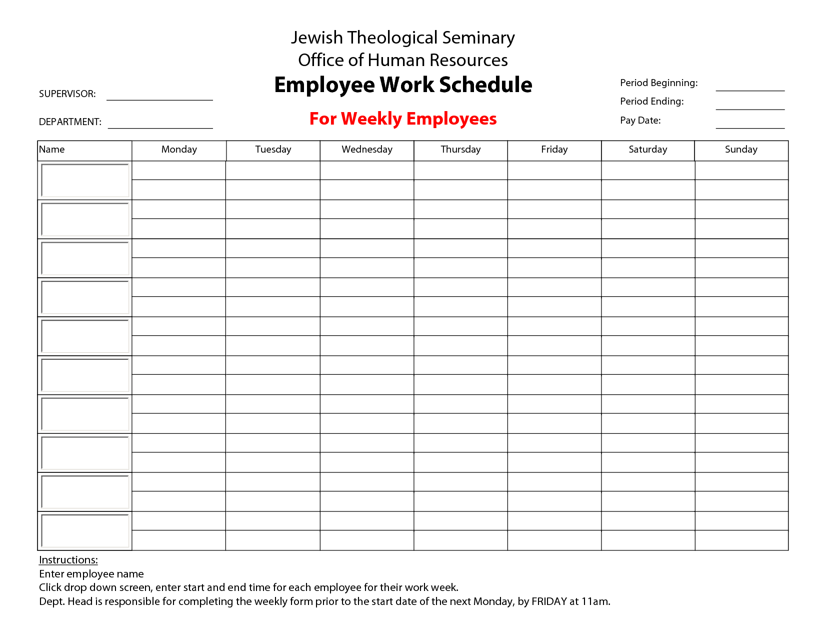 Printable+Employee+Work+Schedule+Template | Schedule with regard to Sunday Through Saturday Schedule Template