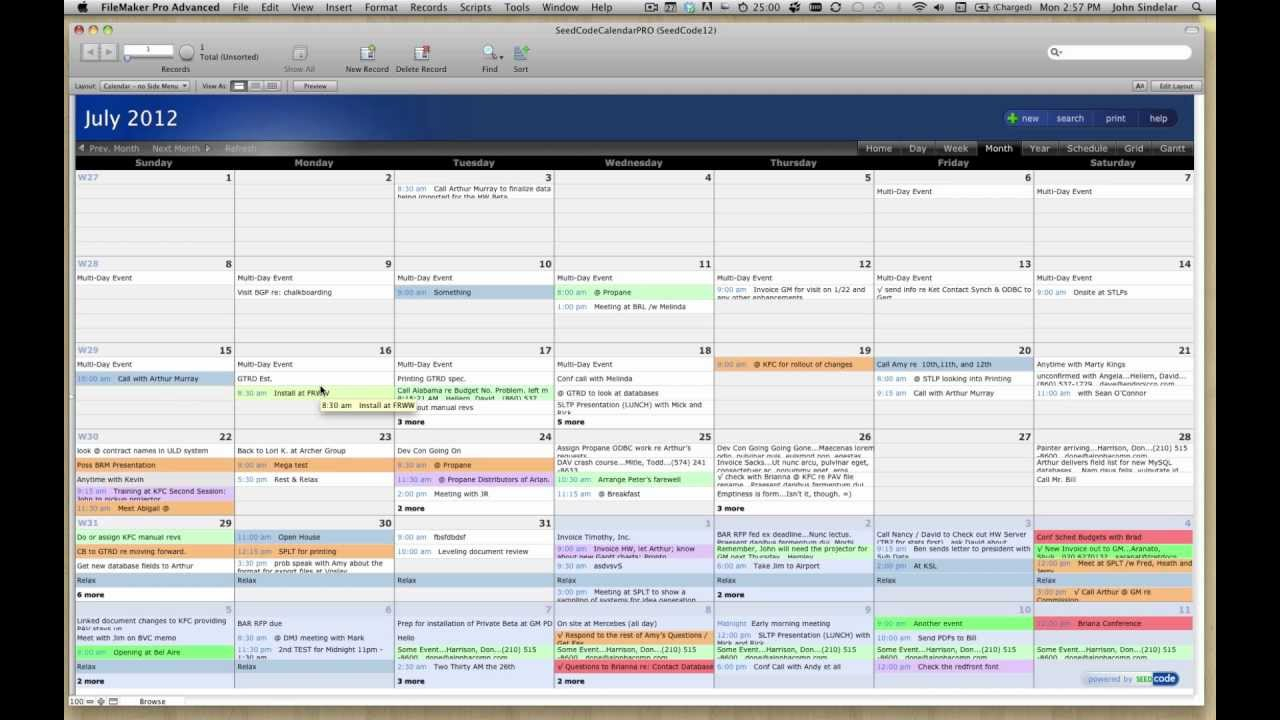 Pro Calendar Template For Filemaker 12 with regard to Filemaker Calendar Template
