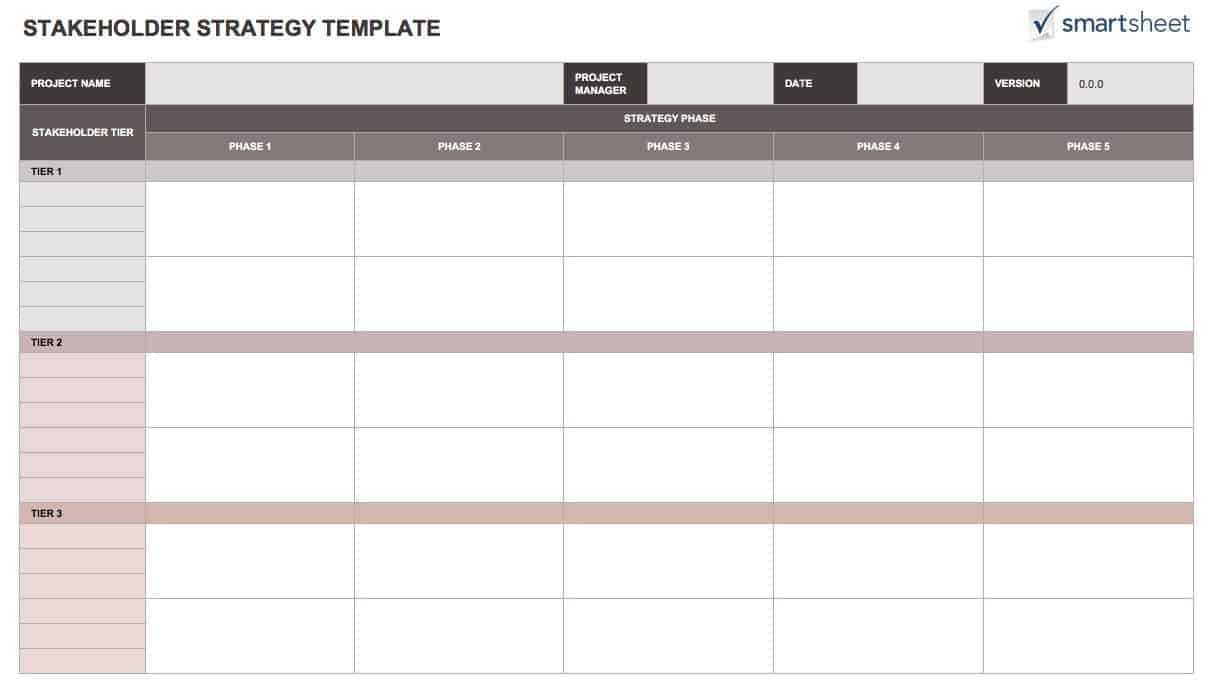 Project Stakeholder Analysis Template. Stakeholder Analysis pertaining to Smartsheet Stakeholder Analysis