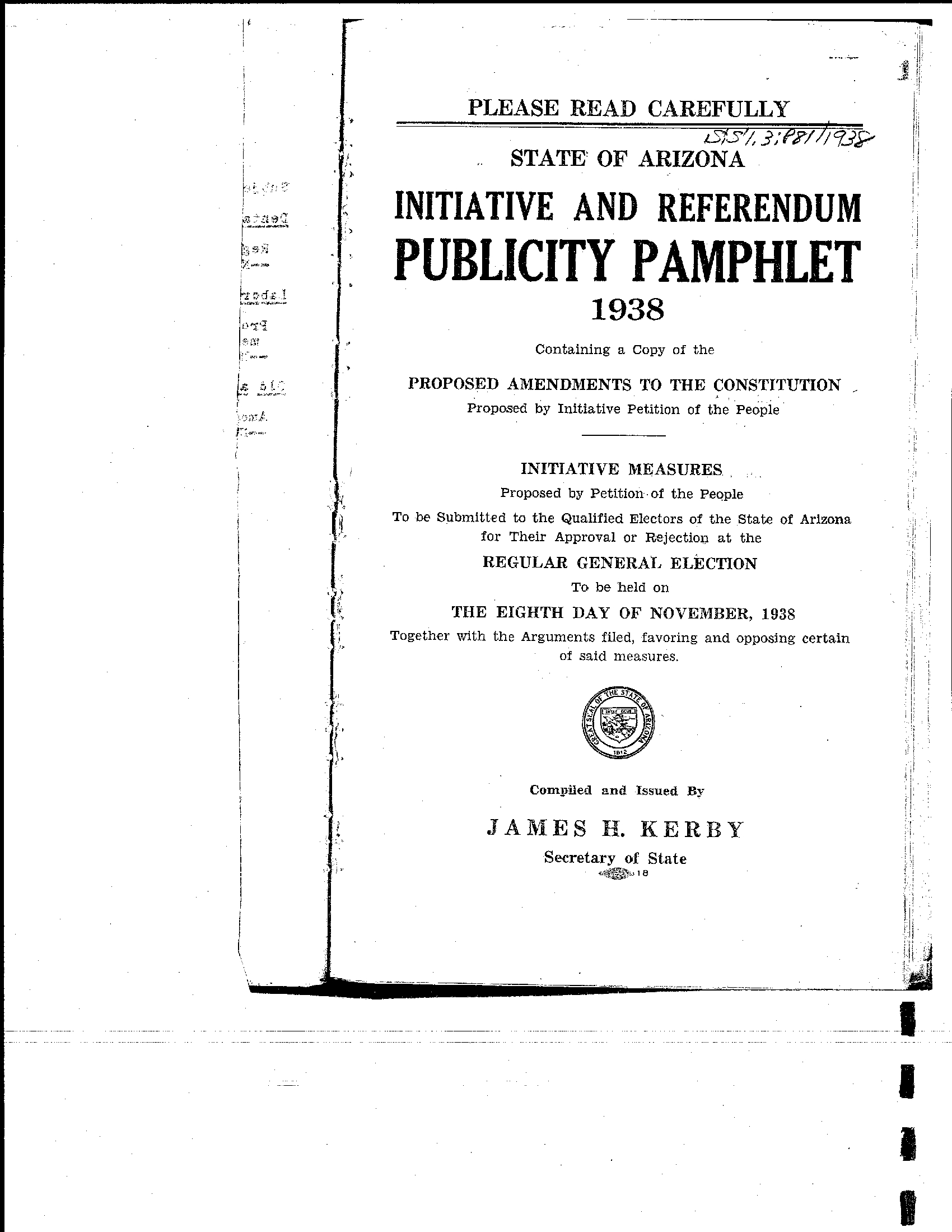 Publicity Pamphlet Regular General Election November, 1938 for Reese A Calendar Year Taxpayer
