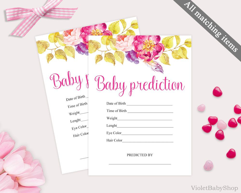 Purple Boho Baby Predictions Game, Printable Fuschia Pink with regard to Baby Prediction Template