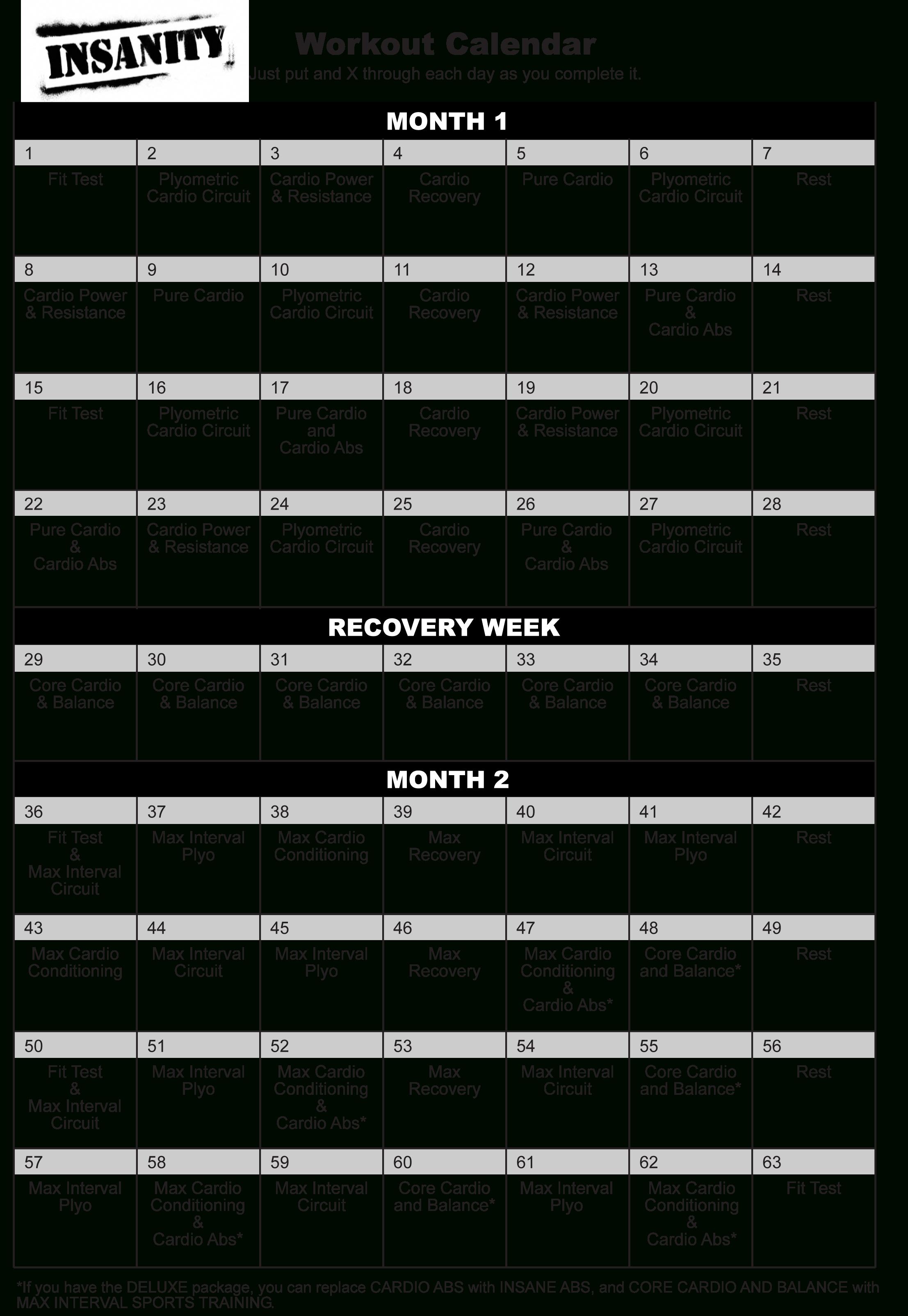 Pyssa22Pp: Insanity Calendar intended for Insanity Calendar Pdf