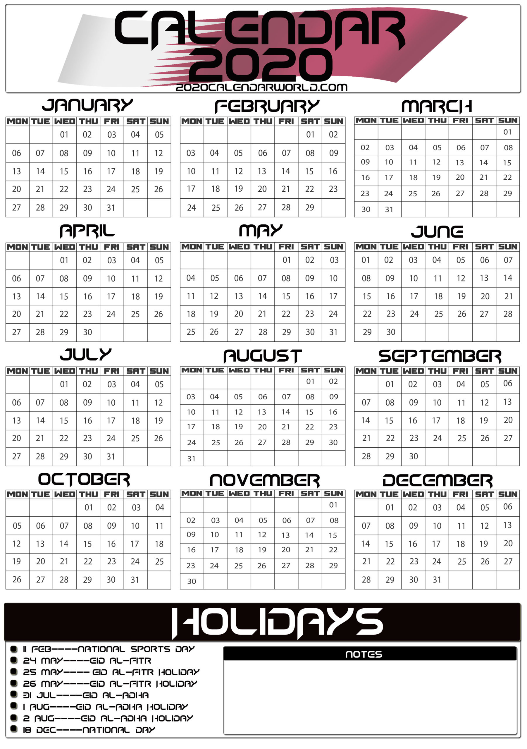 Qatar 2020 Calendar With Holiday Printable Template Download intended for 2020 Calendar Qatar Printable