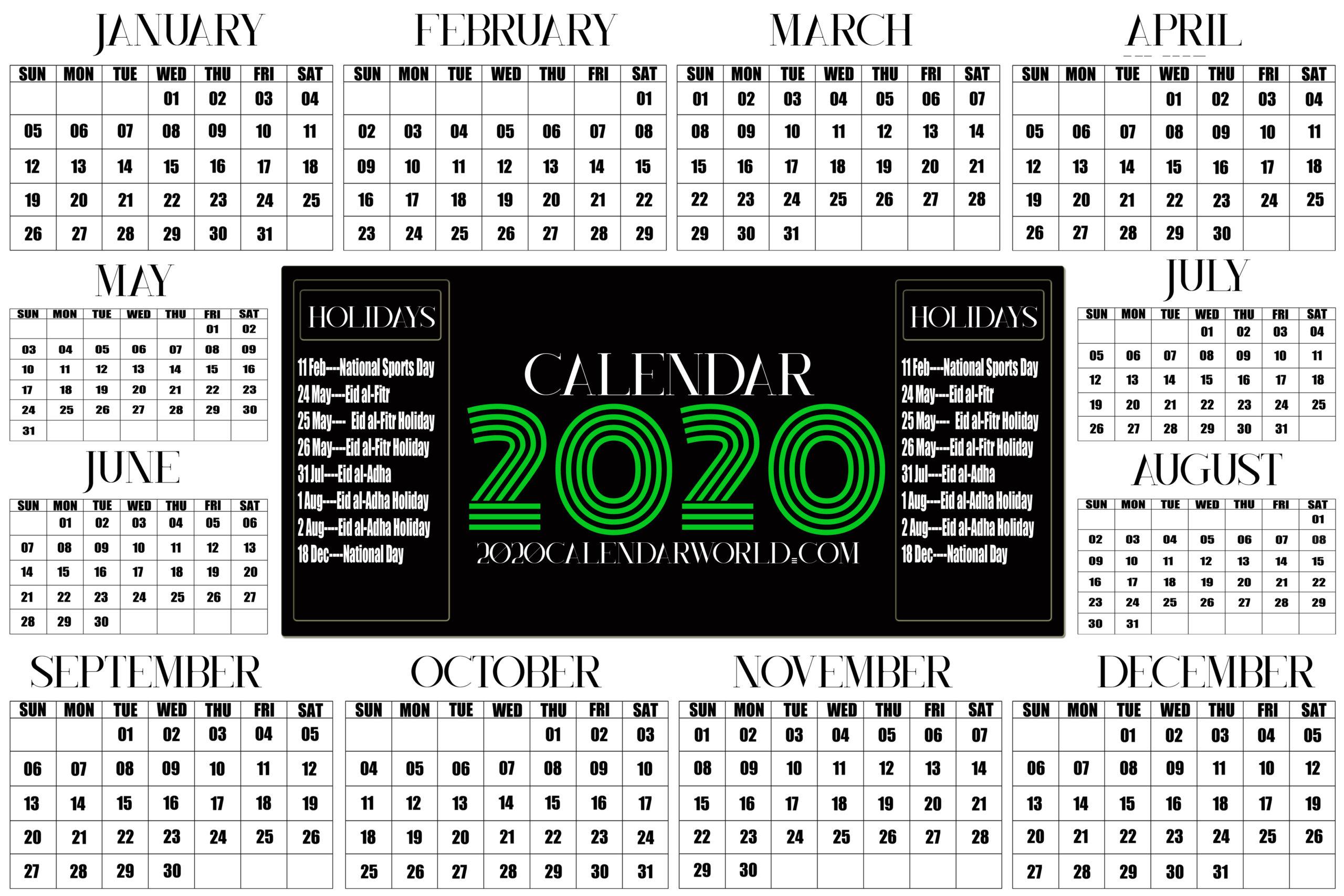 Qatar 2020 Calendar With Holiday Printable Template Download with regard to 2020 Calendar Qatar Printable