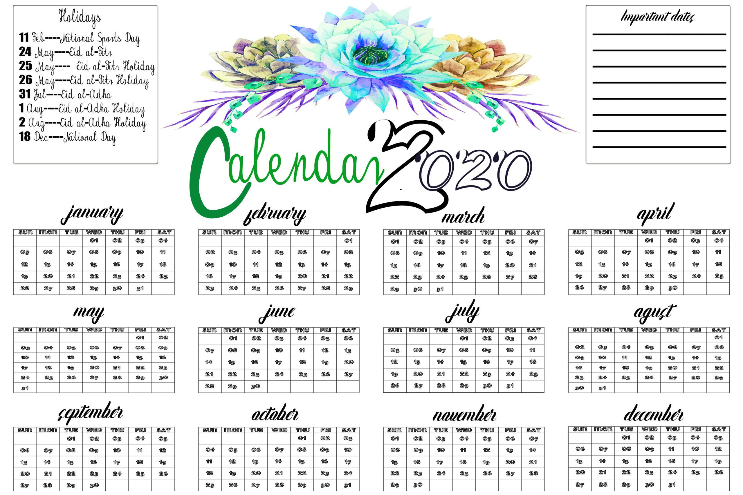 Qatar 2020 Calendar With Holiday Printable Template Download within 2020 Calendar Qatar Printable