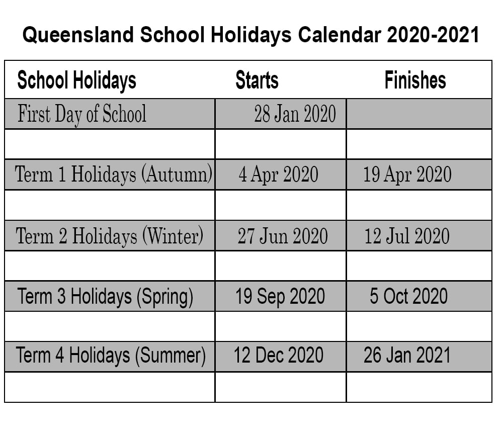 Qld School Holidays 2020 Calendar Template | Printable intended for Calendar 2020 Qld