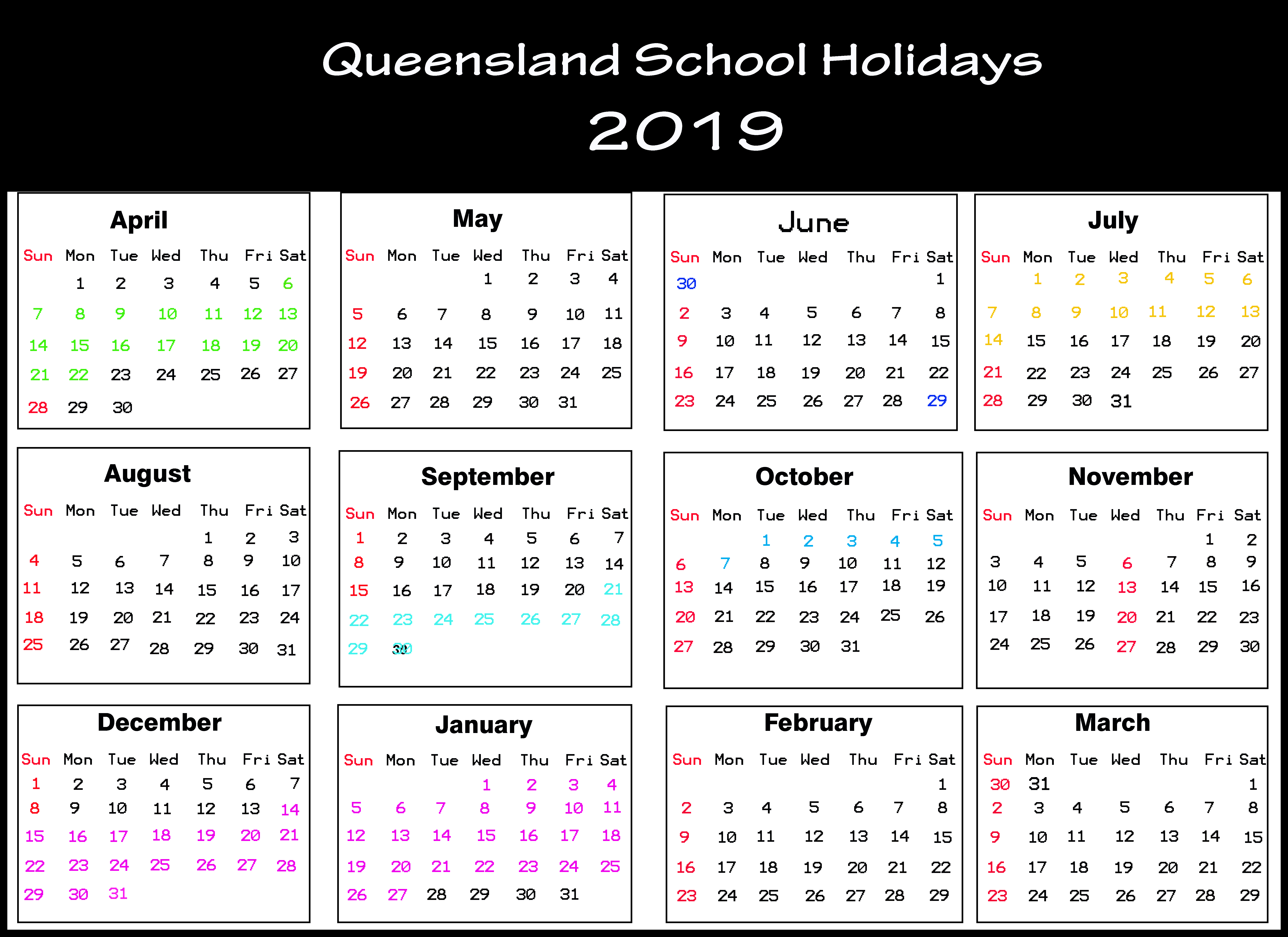 Qld School Holidays Calendar 2019 [Holiday Dates 2019] for Calendar 2020 Qld