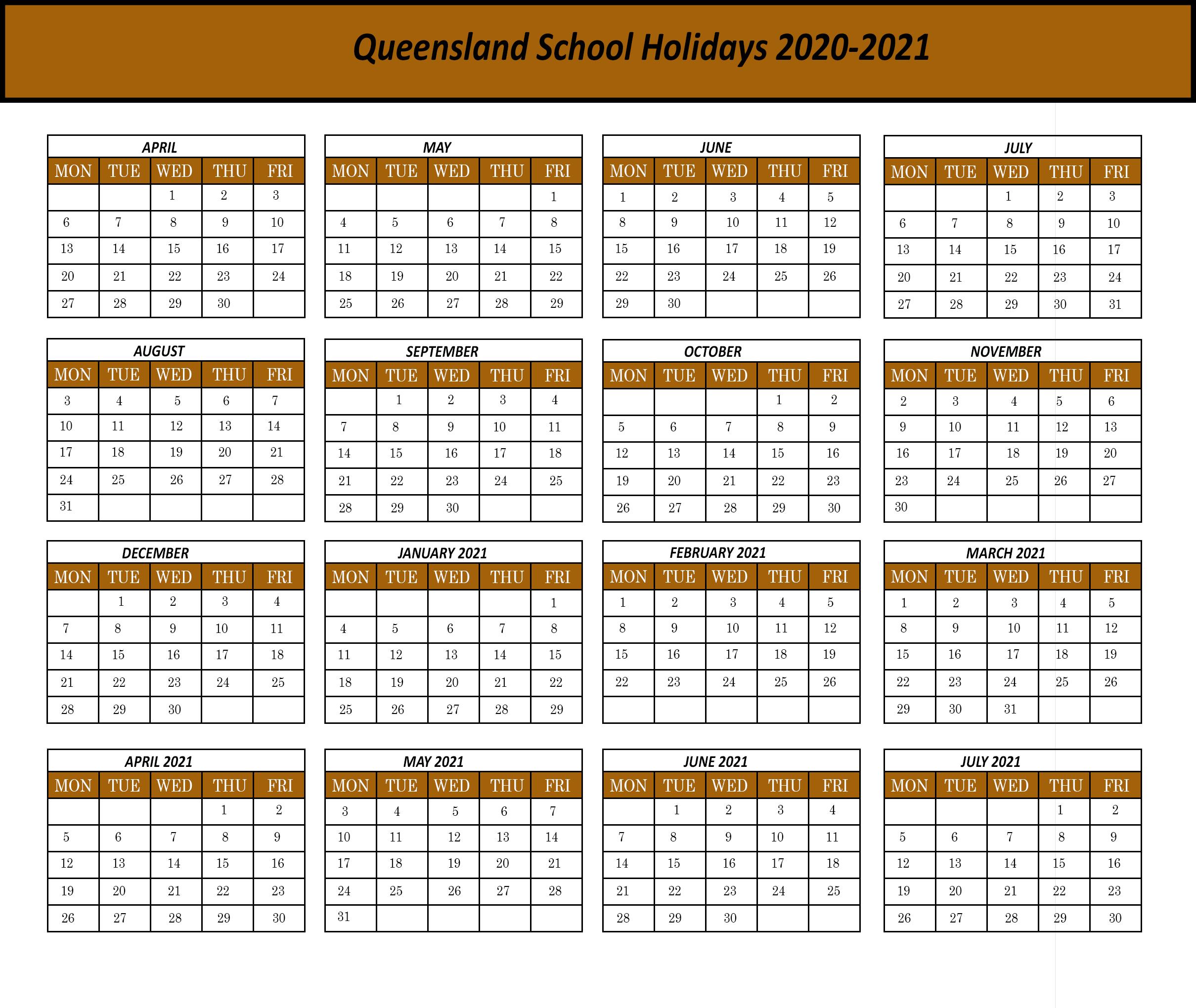 Qld2020 | Printable Template Calendar for Calendar 2020 Qld