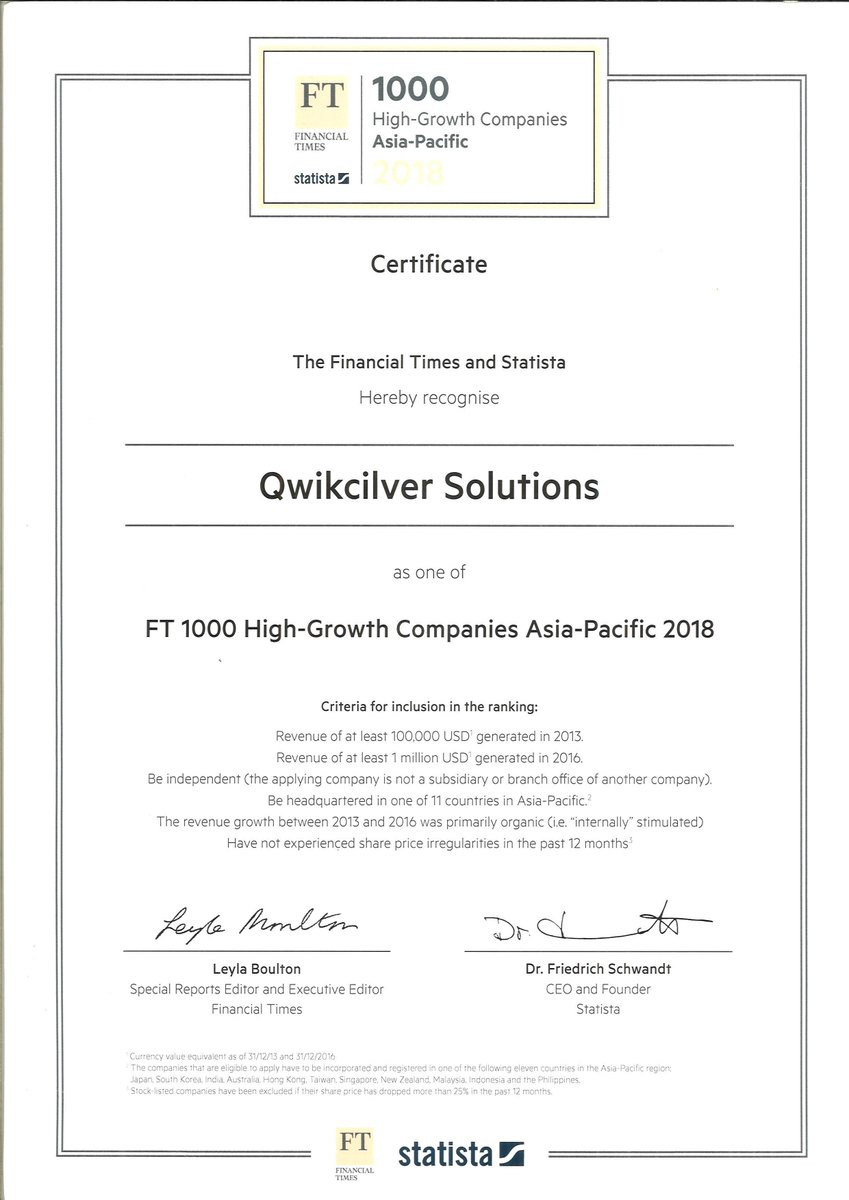 "Qwikcilver On Twitter: ""excited To Announce That Qwikcilver for Ft 1000 High-Growth Companies Asia-Pacific"