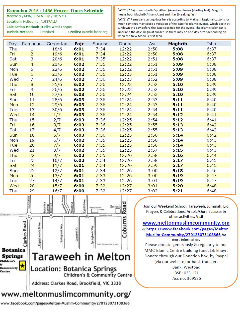 Ramadan Calendar 2015 – Melbourne | Victorian Muslimah Australia in Ramadan Time Table 2015