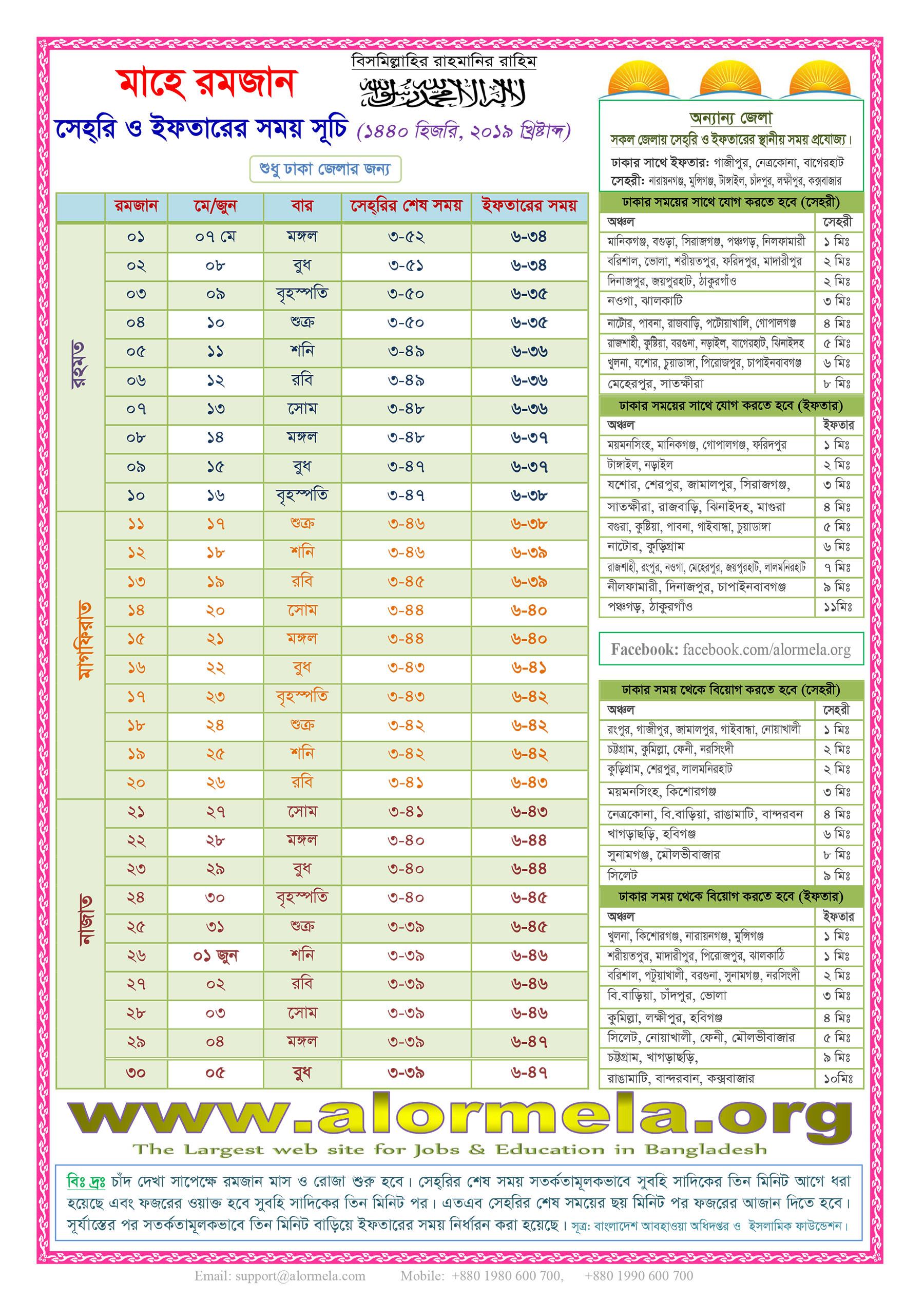 Ramadan Calendar 2019, Hijri 1440  Alormela inside Isha Lunar Calendar 2020