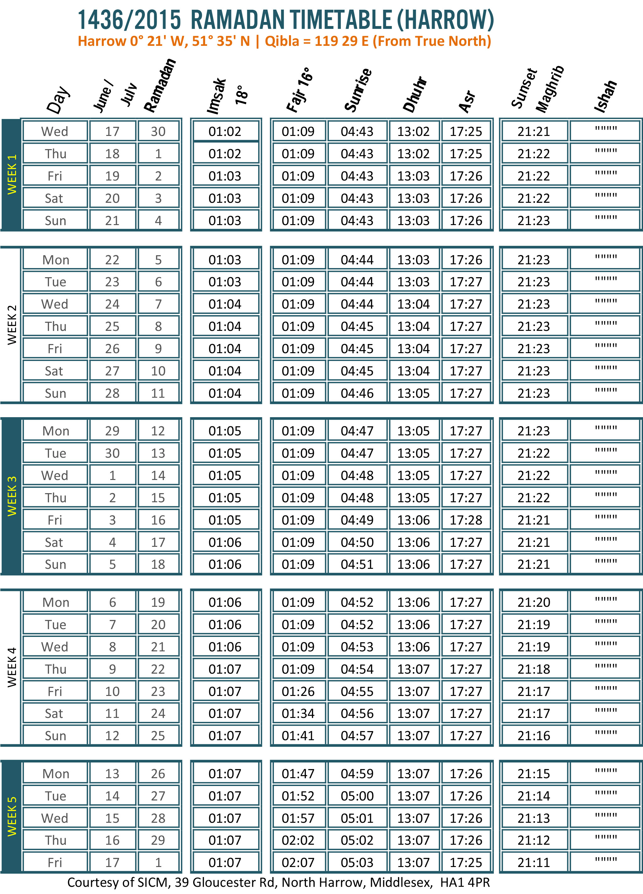 Ramadan Timetable 2015 (1436)  The Muslim Newsthe Muslim News pertaining to Ramadan Time Table 2015