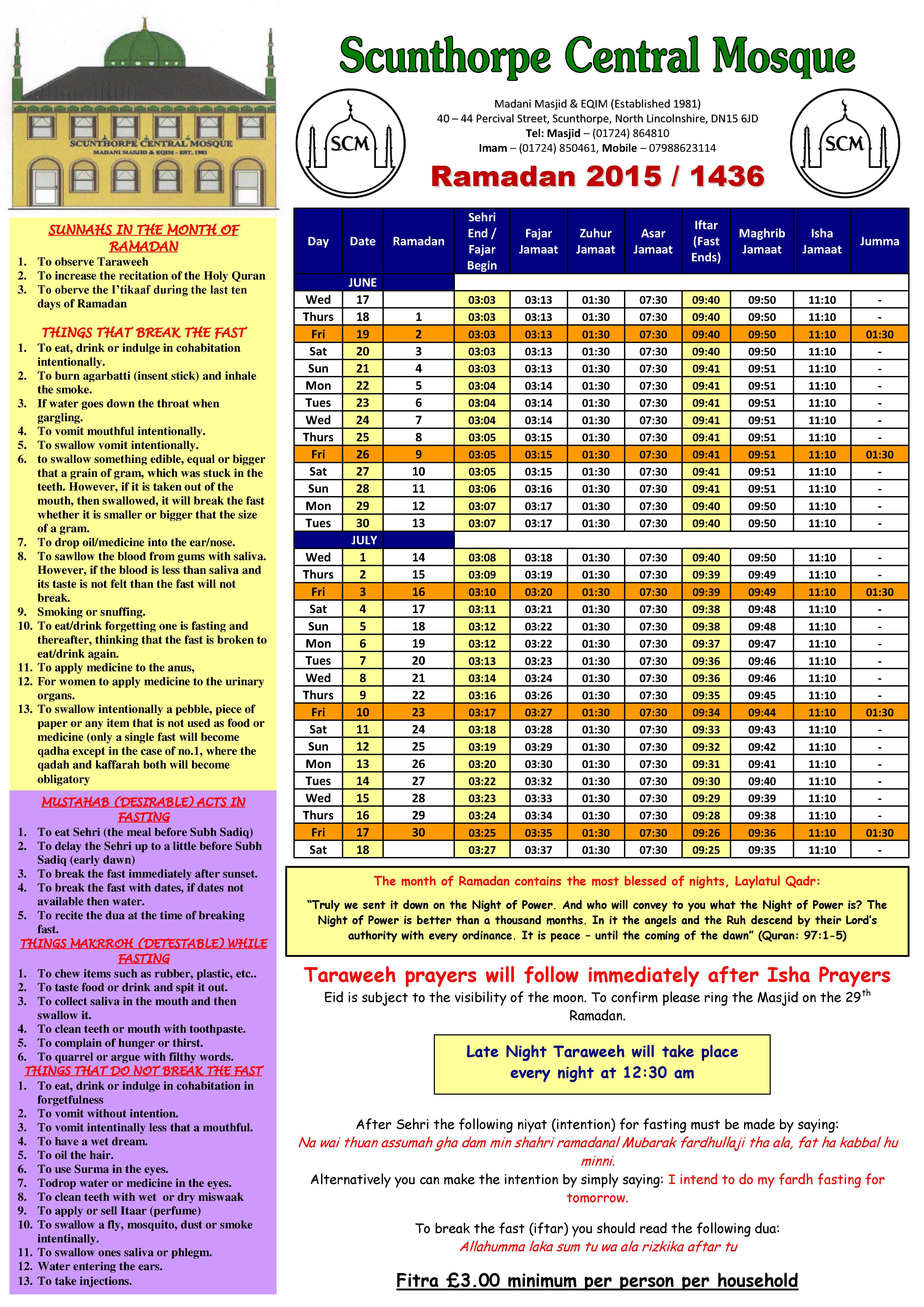 Ramadan Timetable 2015 Is Now Available – Download Now intended for Ramadan Time Table 2015