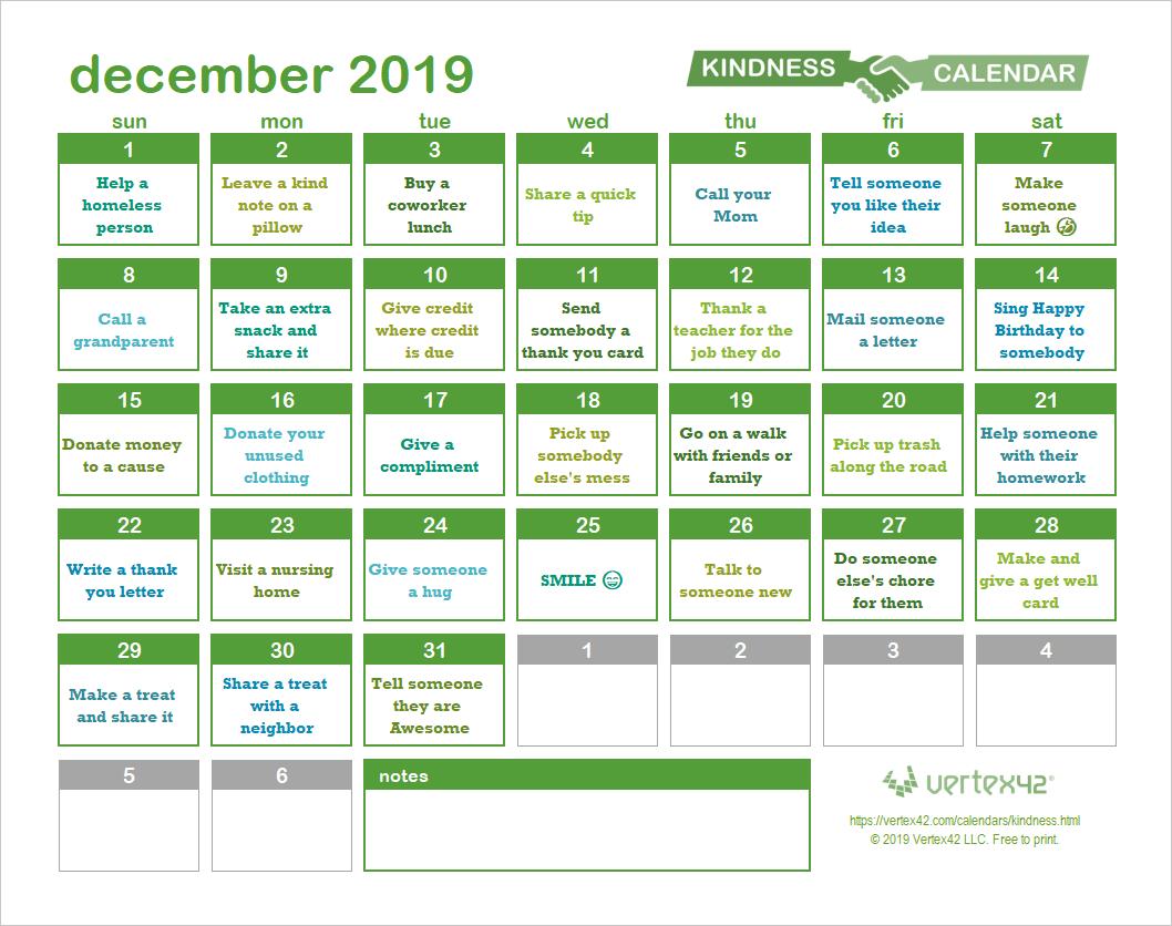 Random Acts Of Kindness Calendar with Kindness Calendar Template