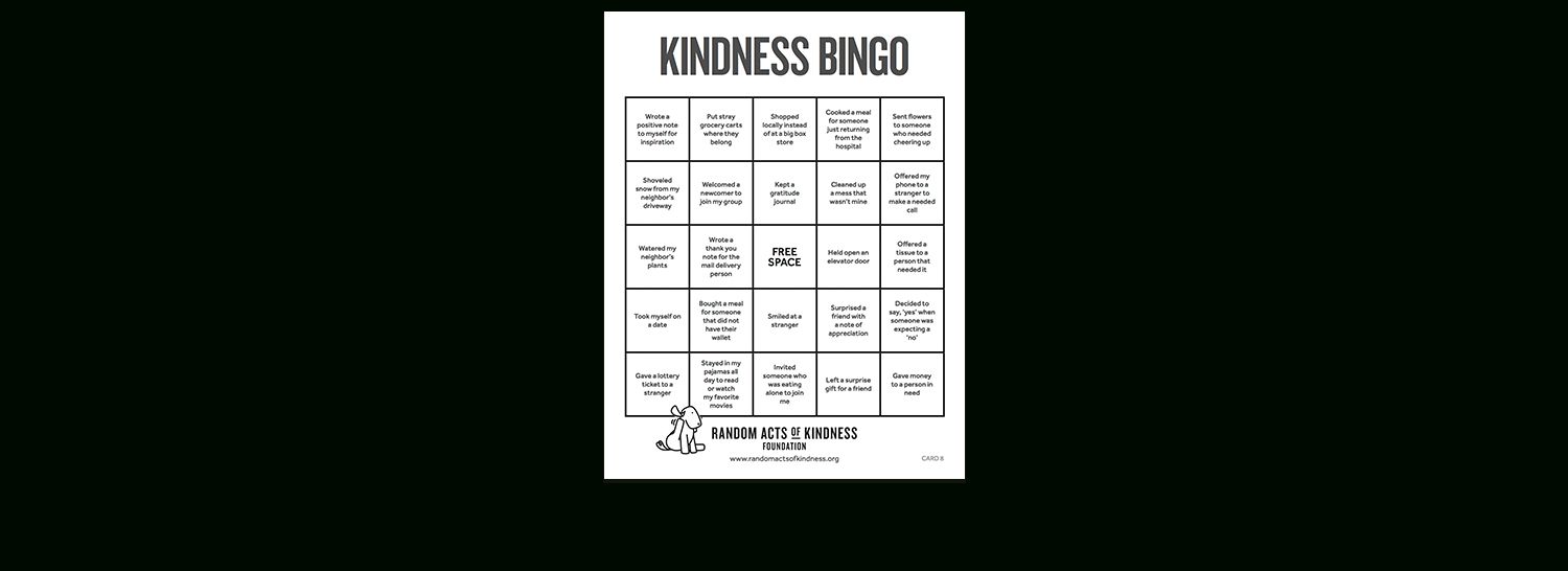 Random Acts Of Kindness | Kindness Printables pertaining to Kindness Calendar Template