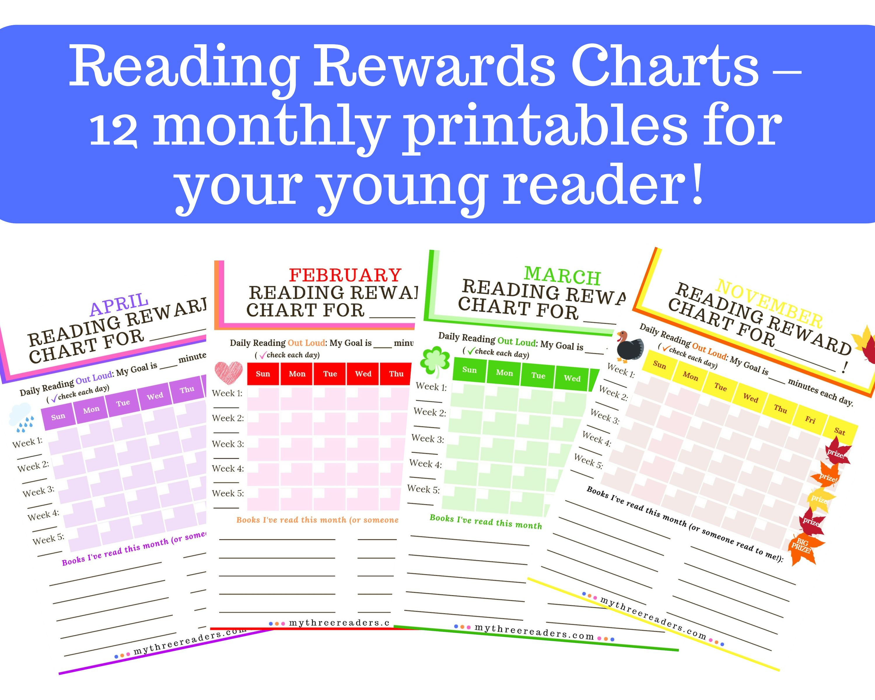 Reading Reward And Incentives Charts  12 Monthly Free for Monthly Sticker Chart