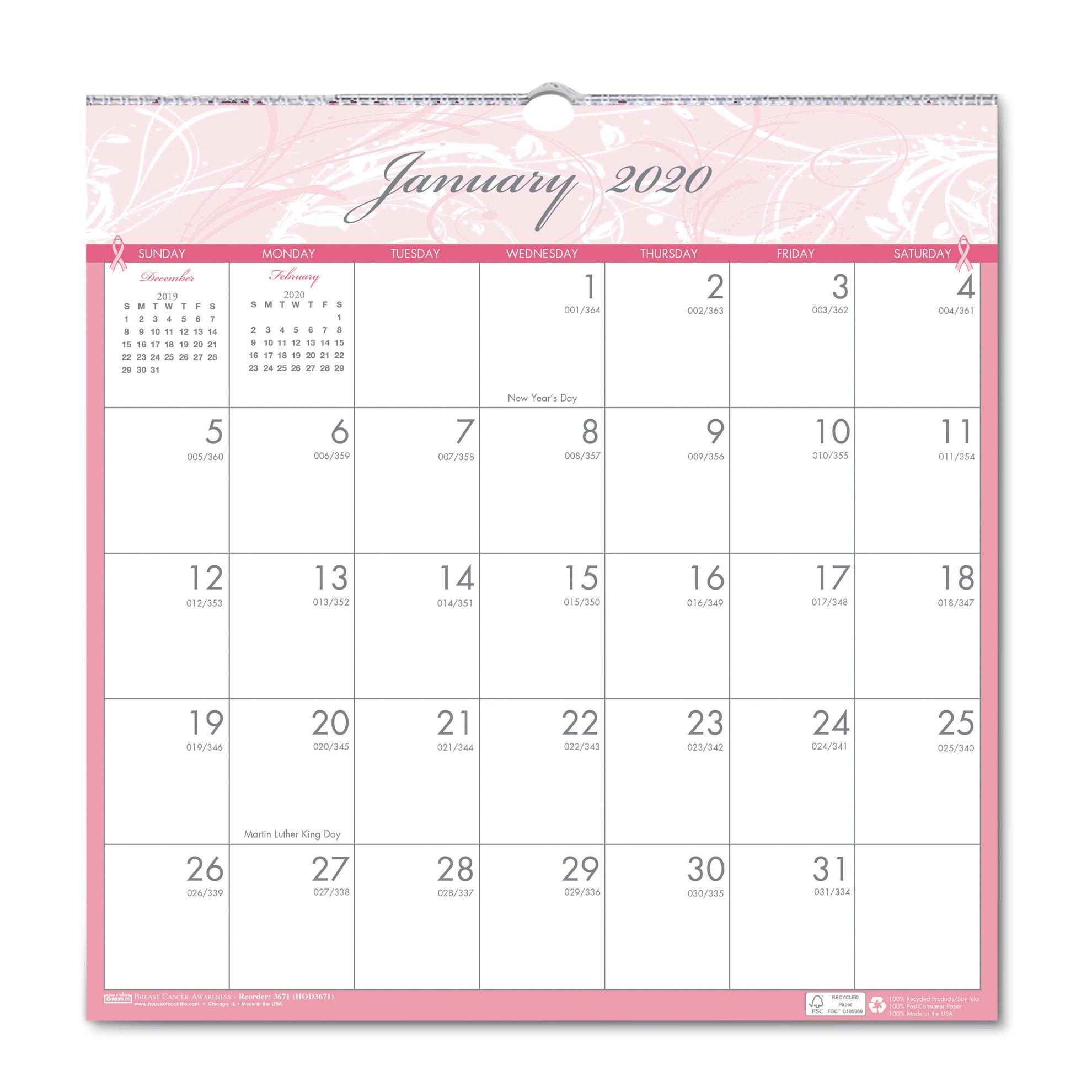 Recycled Breast Cancer Awareness Monthly Wall Calendar, 12 X inside 12X12 Calendar Holder