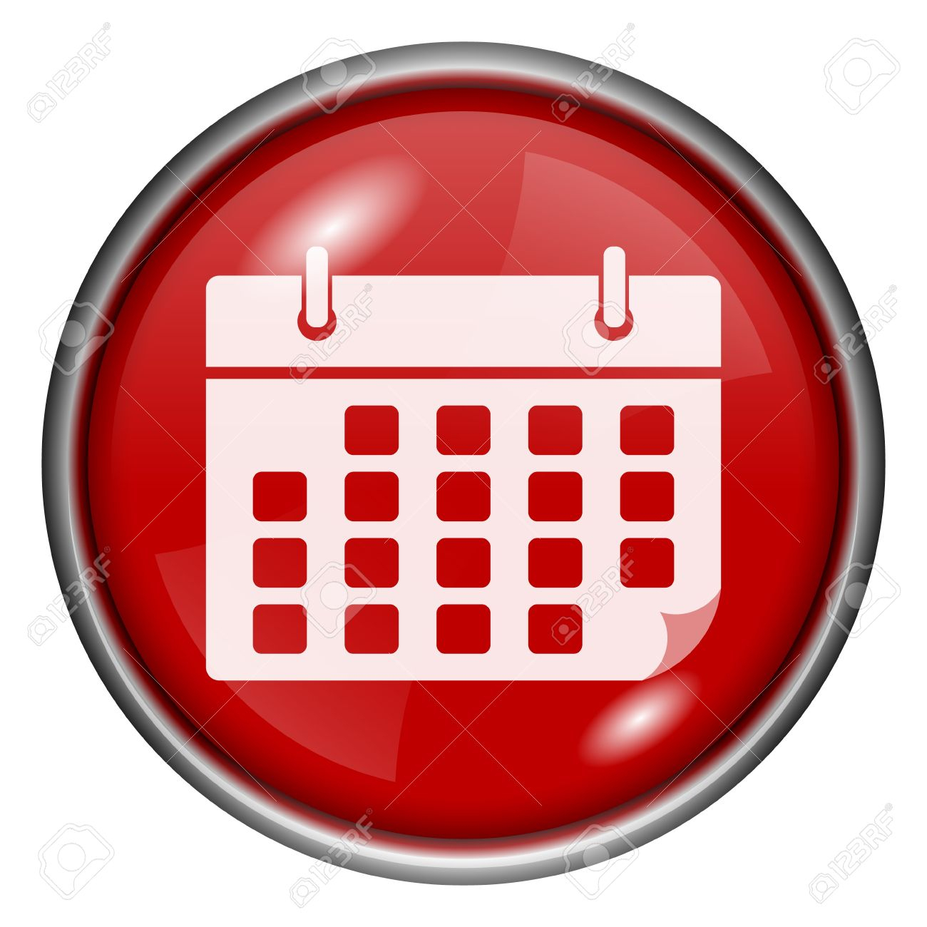 Red Round Glossy Calendar Icon With White Design On Red Background intended for Round Calendar Icon